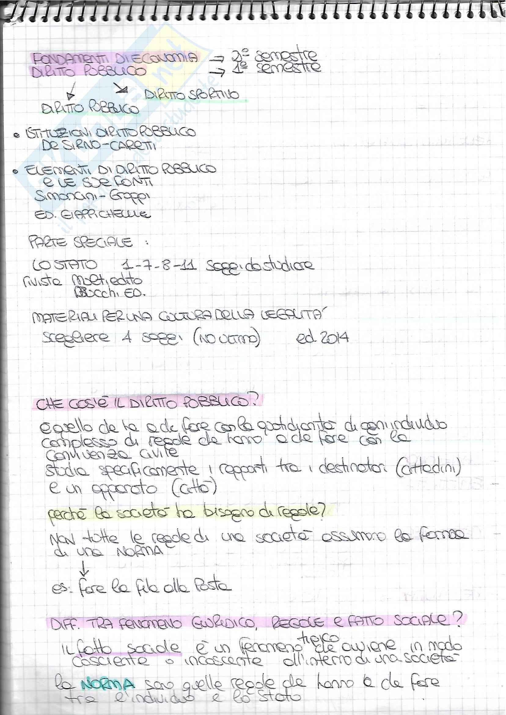 Appunti diritto pubblico (presi a lezione)