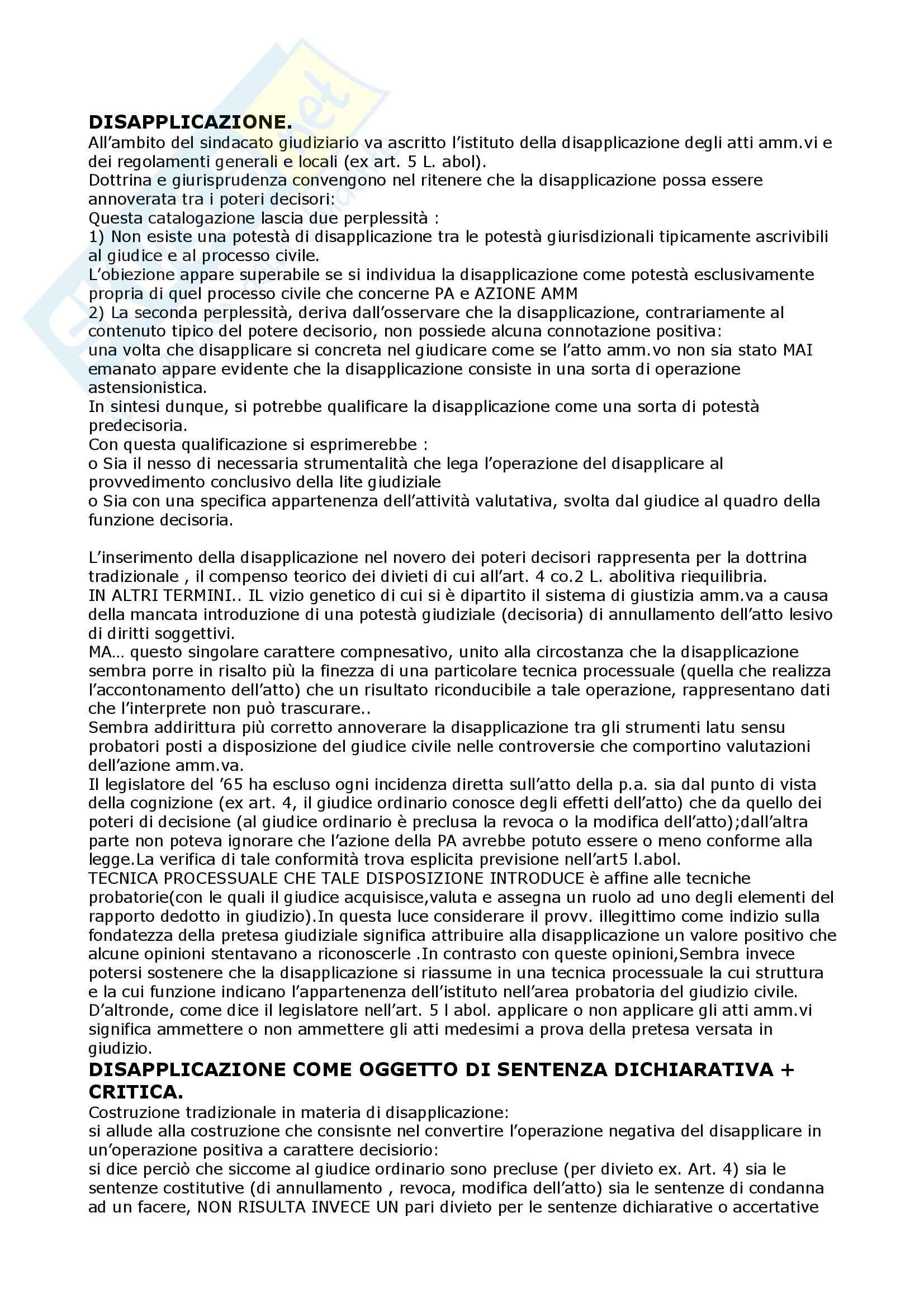 Diritto amministrativo I - disapplicazione