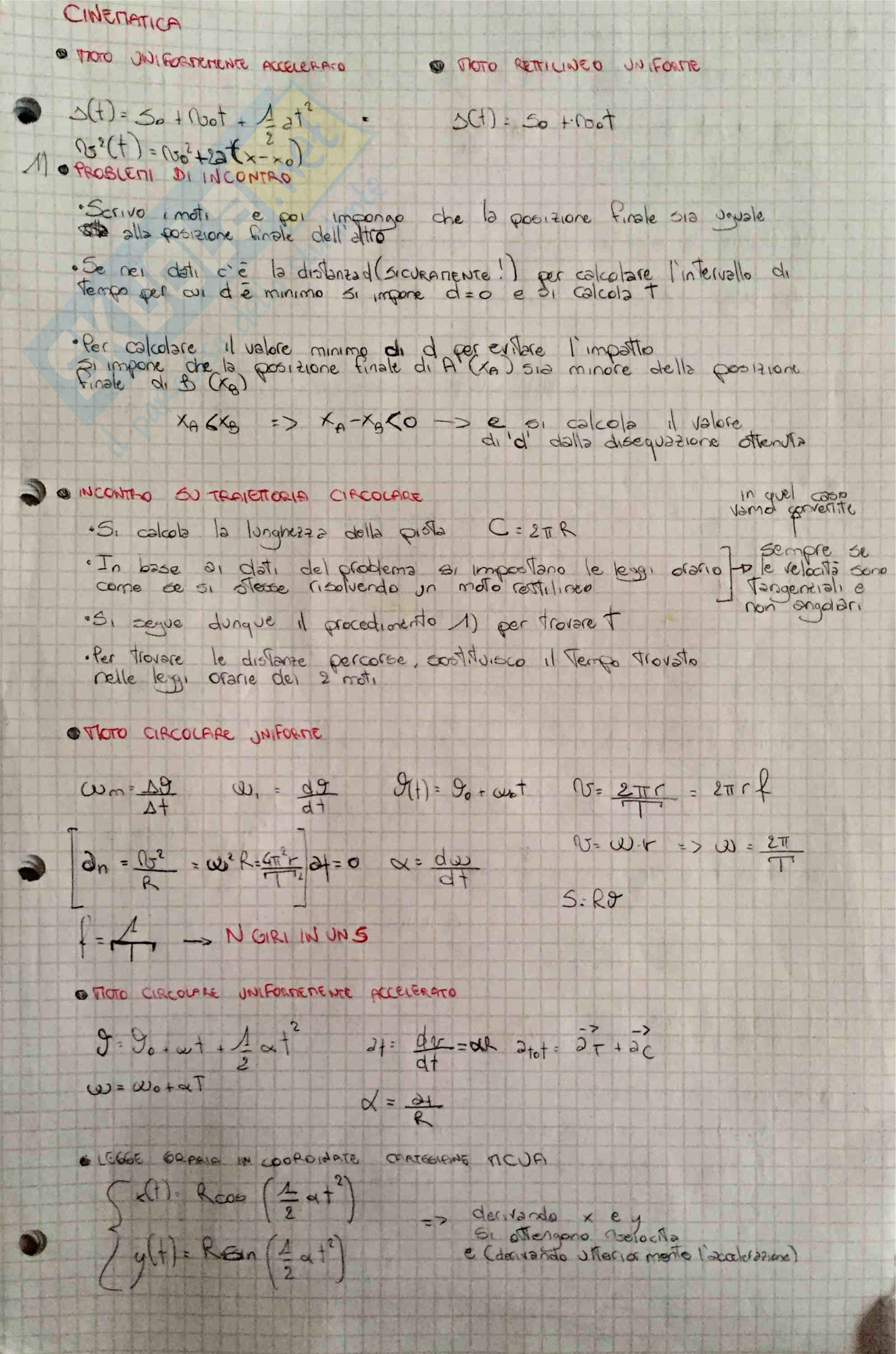 Formulario Fisica: Meccanica e Elettromagnetismo