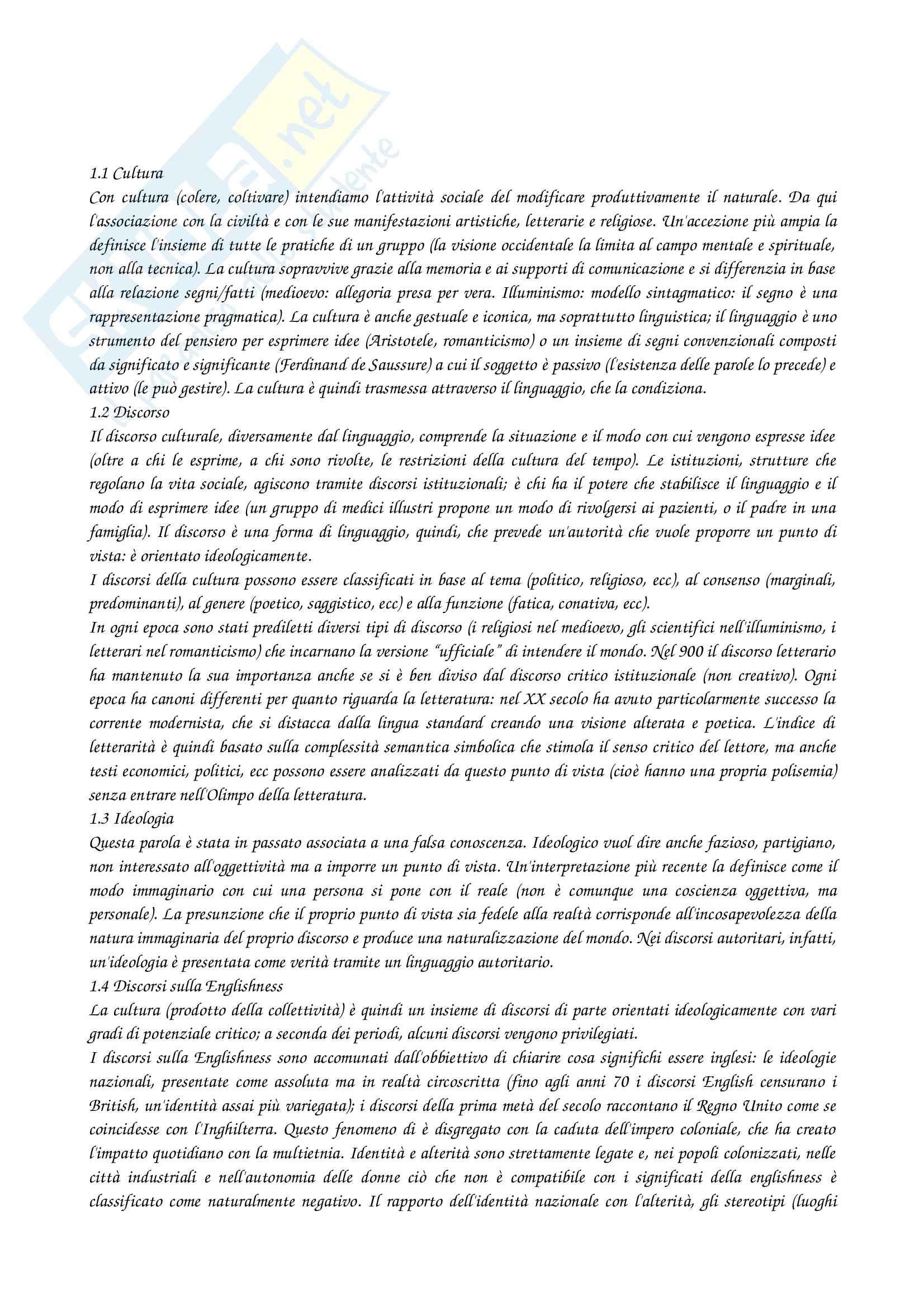 Riassunto esame Letteratura postcoloniale, prof. Nicora, libro consigliato Englishness, Marzola