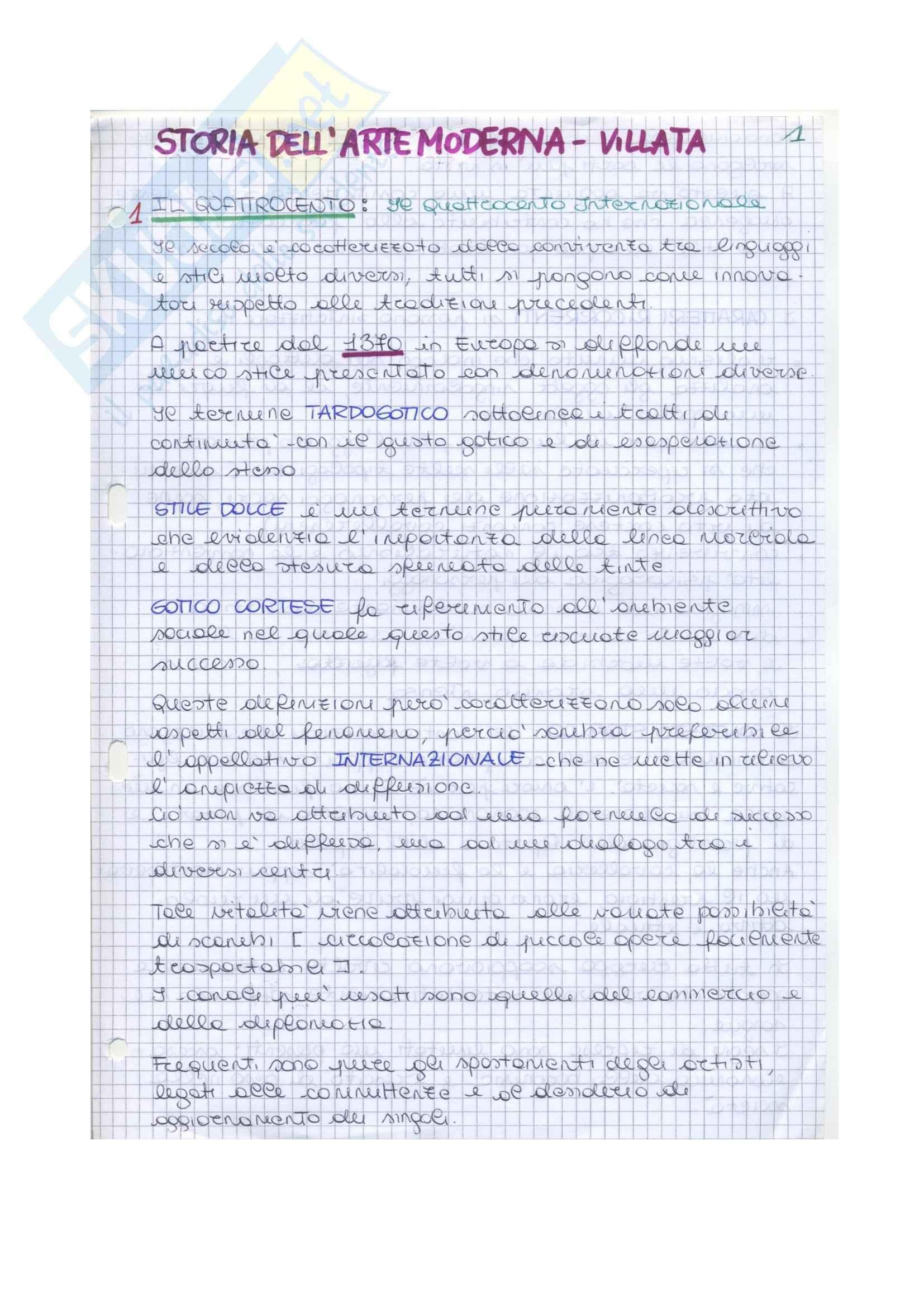 Riassunto esame Storia dell'arte moderna, prof. Villata, libro consigliato Arte nel tempo, De Vecchi,Cerchiari