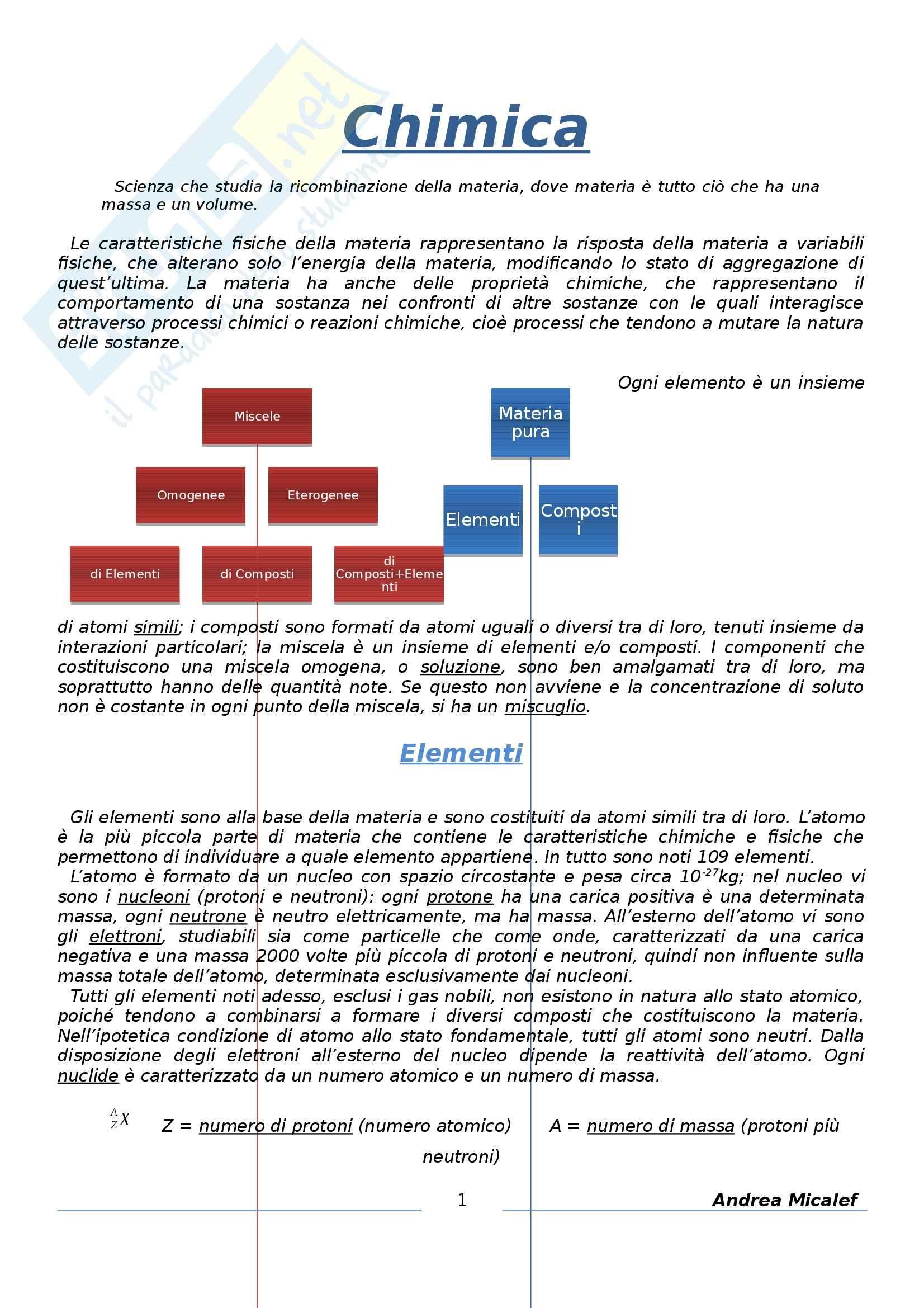 Chimica Generale - Appunti