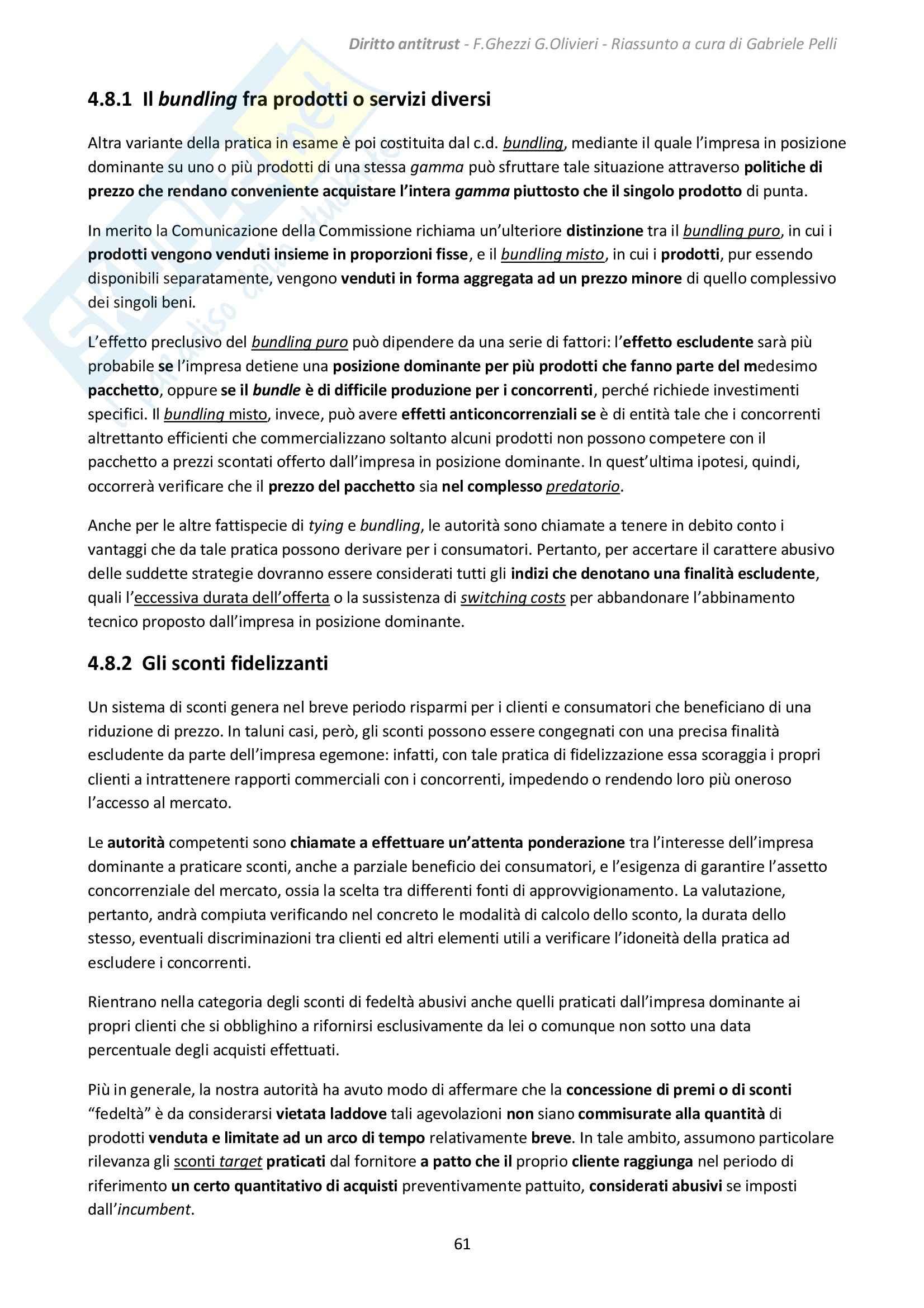 Riassunto esame Diritto antitrust, prof. Ghezzi, libro consigliato Diritto antitrust, Ghezzi, Olivieri Pag. 61