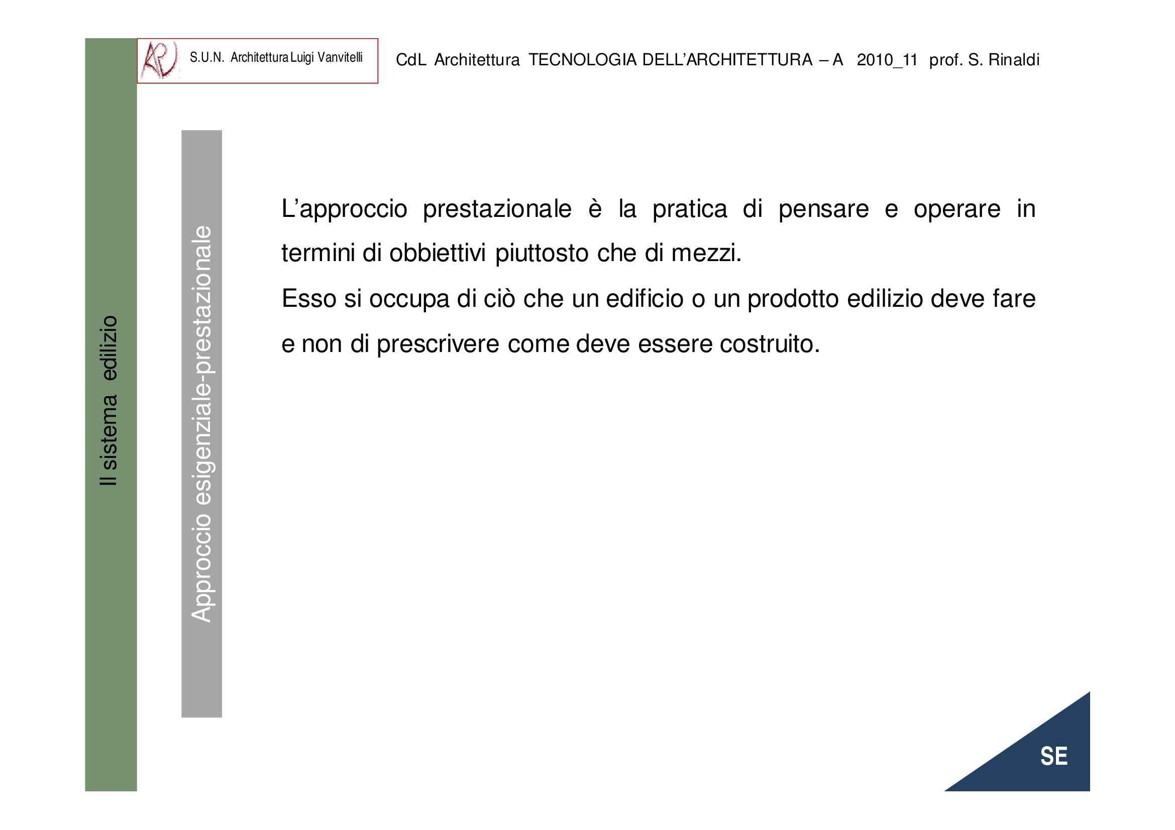 Sistema edilizio -  Approccio esigenziale-prestazionale