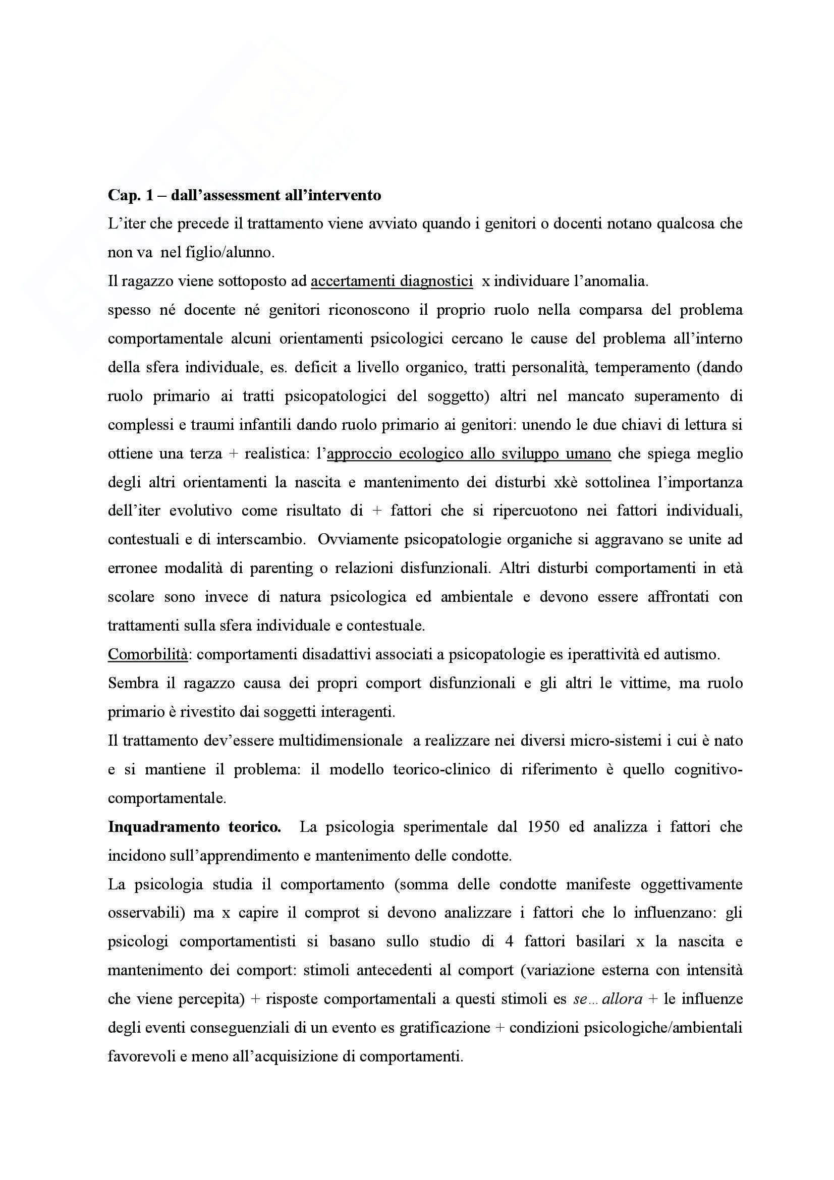 Riassunto esame Pedagogia clinica, prof. Bagnato, libro consigliato Valutazione e trattamento dei disturbi del comportamento, Filippello