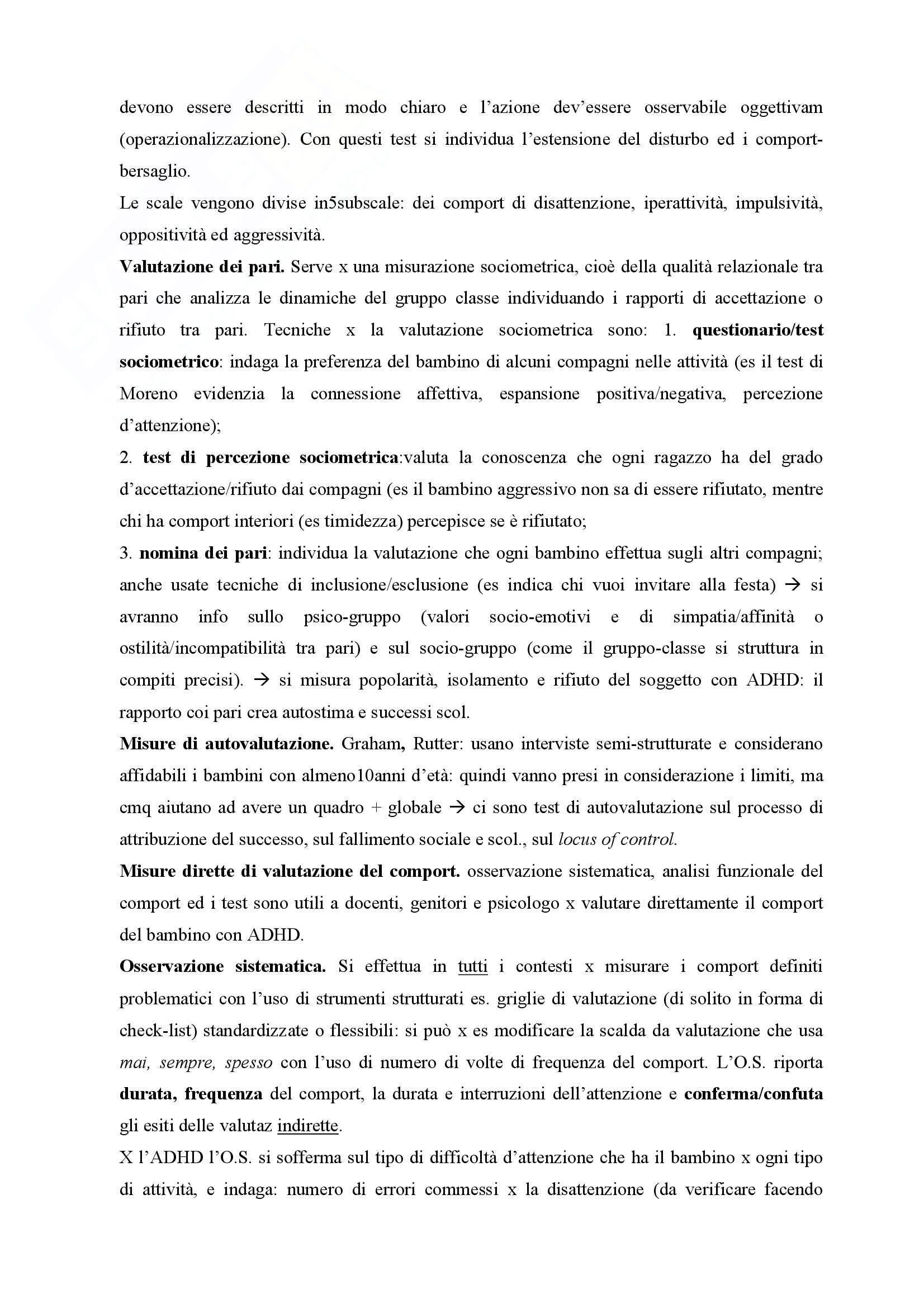 Riassunto esame Pedagogia clinica, prof. Bagnato, libro consigliato Valutazione e trattamento dei disturbi del comportamento, Filippello Pag. 76