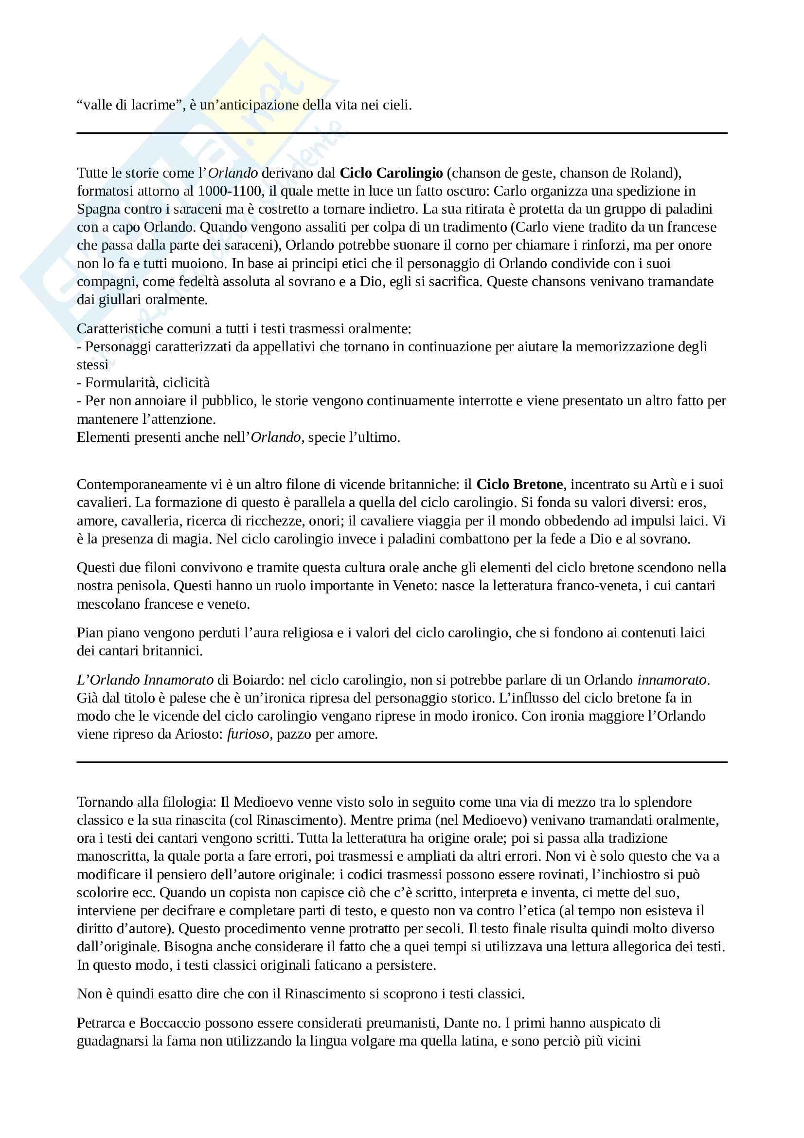 Orlando Furioso - Letteratura Italiana, prof. Rusi Pag. 2