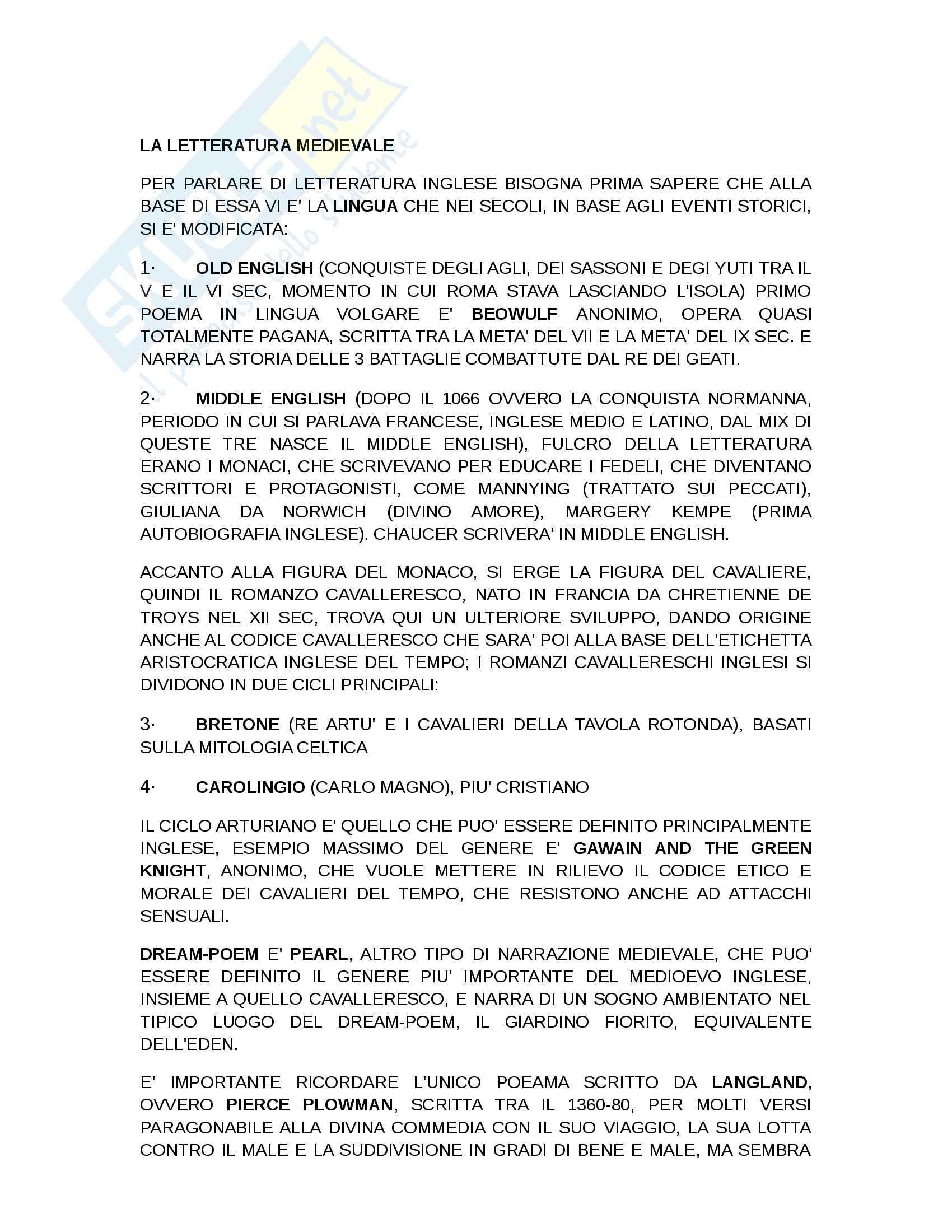 Riassunto esame Letteratura Inglese, prof. Piazza, libro consigliato Breve Storia della Letteratura Inglese di Bertinetti