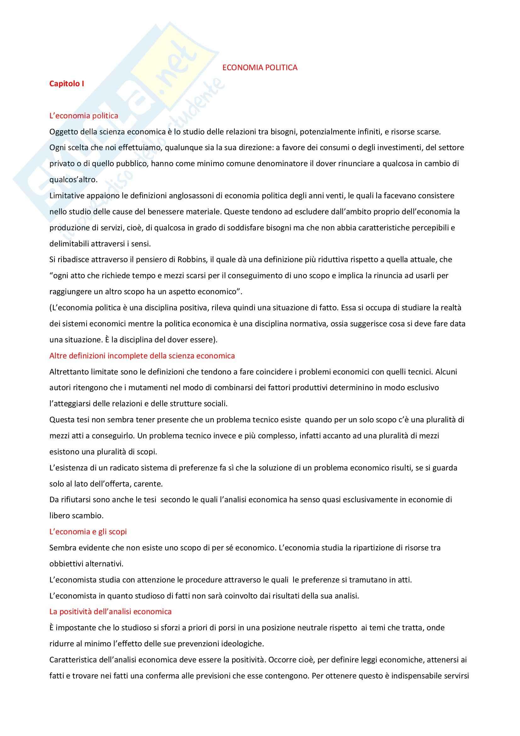 Economia politica - Appunti
