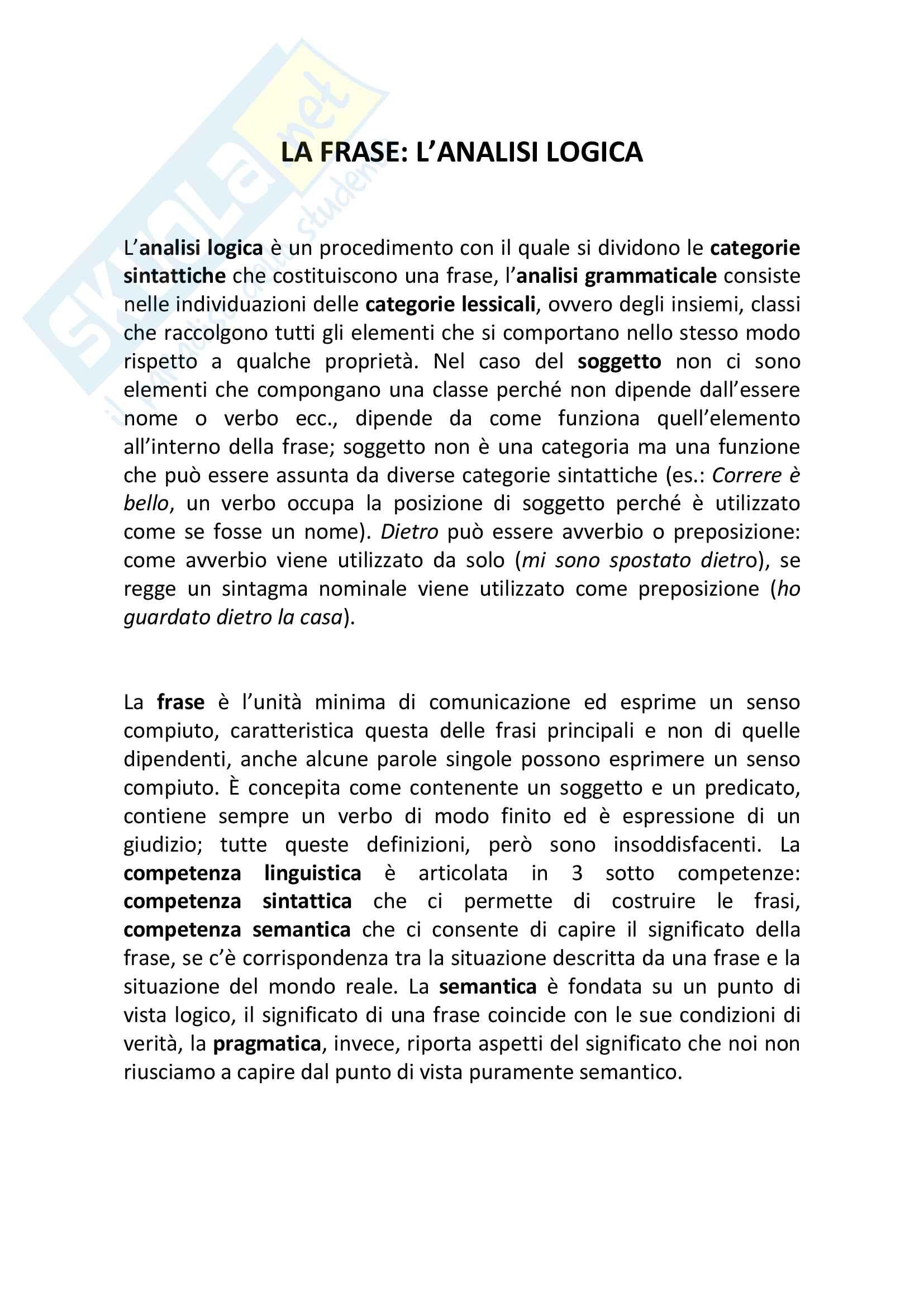 Riassunto esame Linguistica Generale, prof. De Masi, libro consigliato: La frase: l'analisi logica, Graffi