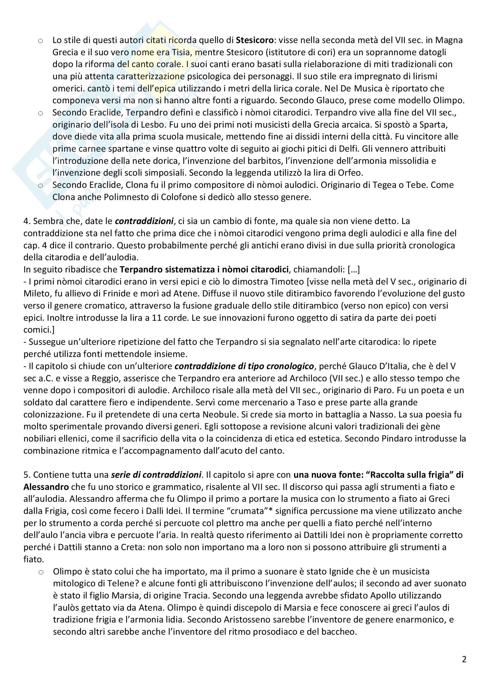 Riassunto, commento ed analisi De musica, Plutarco Pag. 2