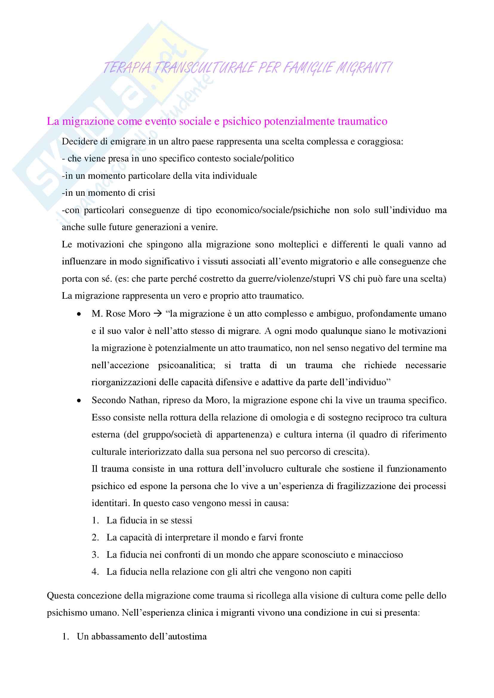 Riassunto esame Pedagogia generale e organizzazione scolastica, prof. Pastori, libro consigliato Terapia transculturale per famiglie migranti, Cattaneo