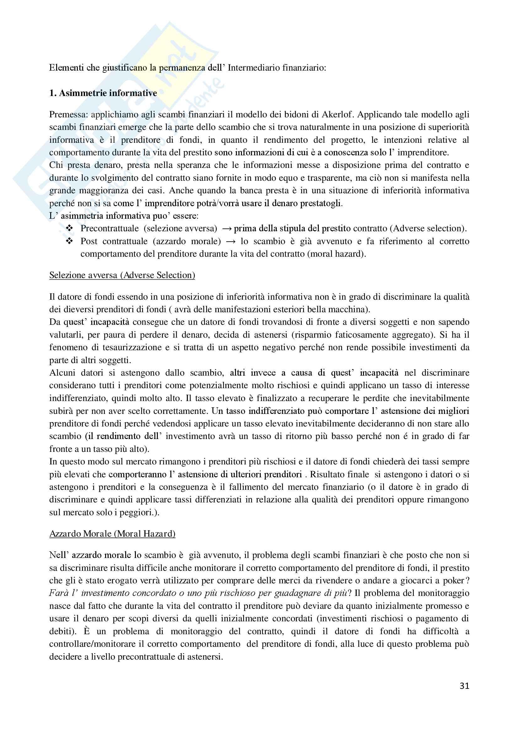 Economia degli intermediari finanziari Pag. 31