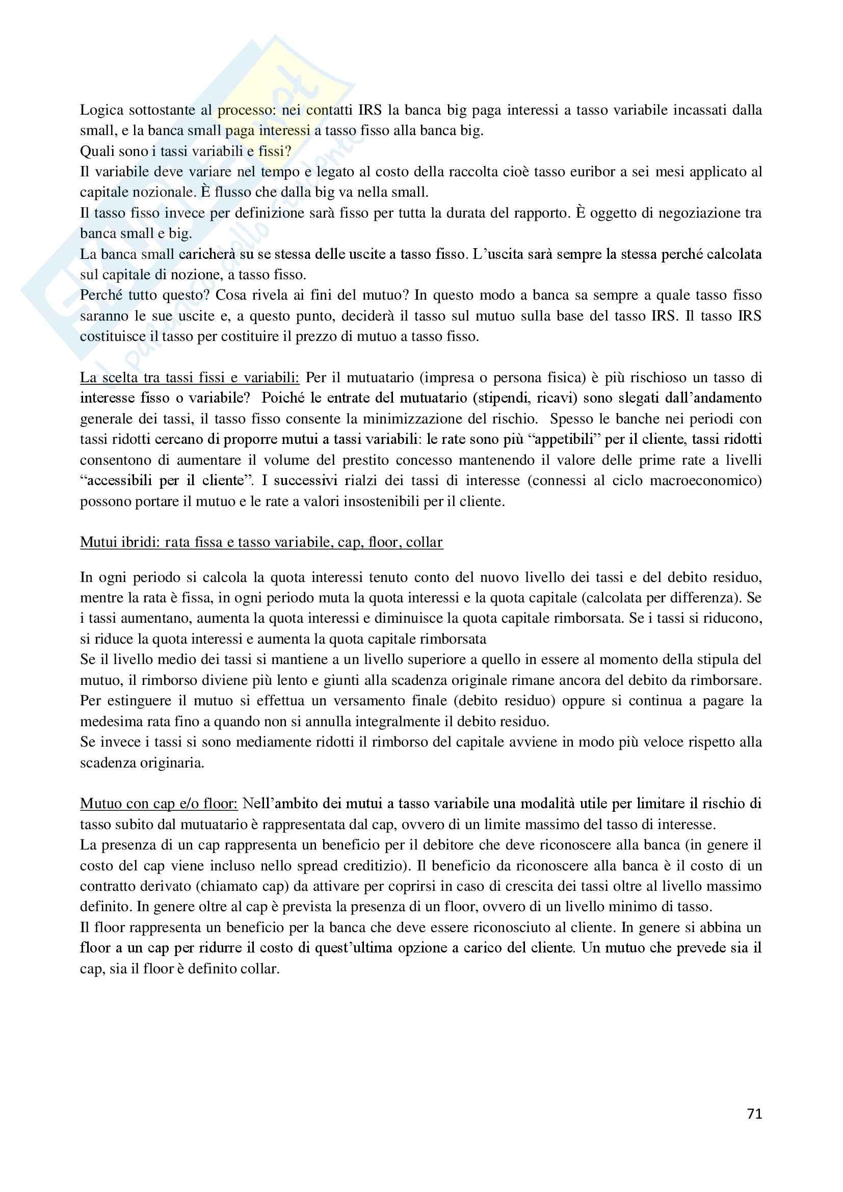Economia degli intermediari finanziari Pag. 71