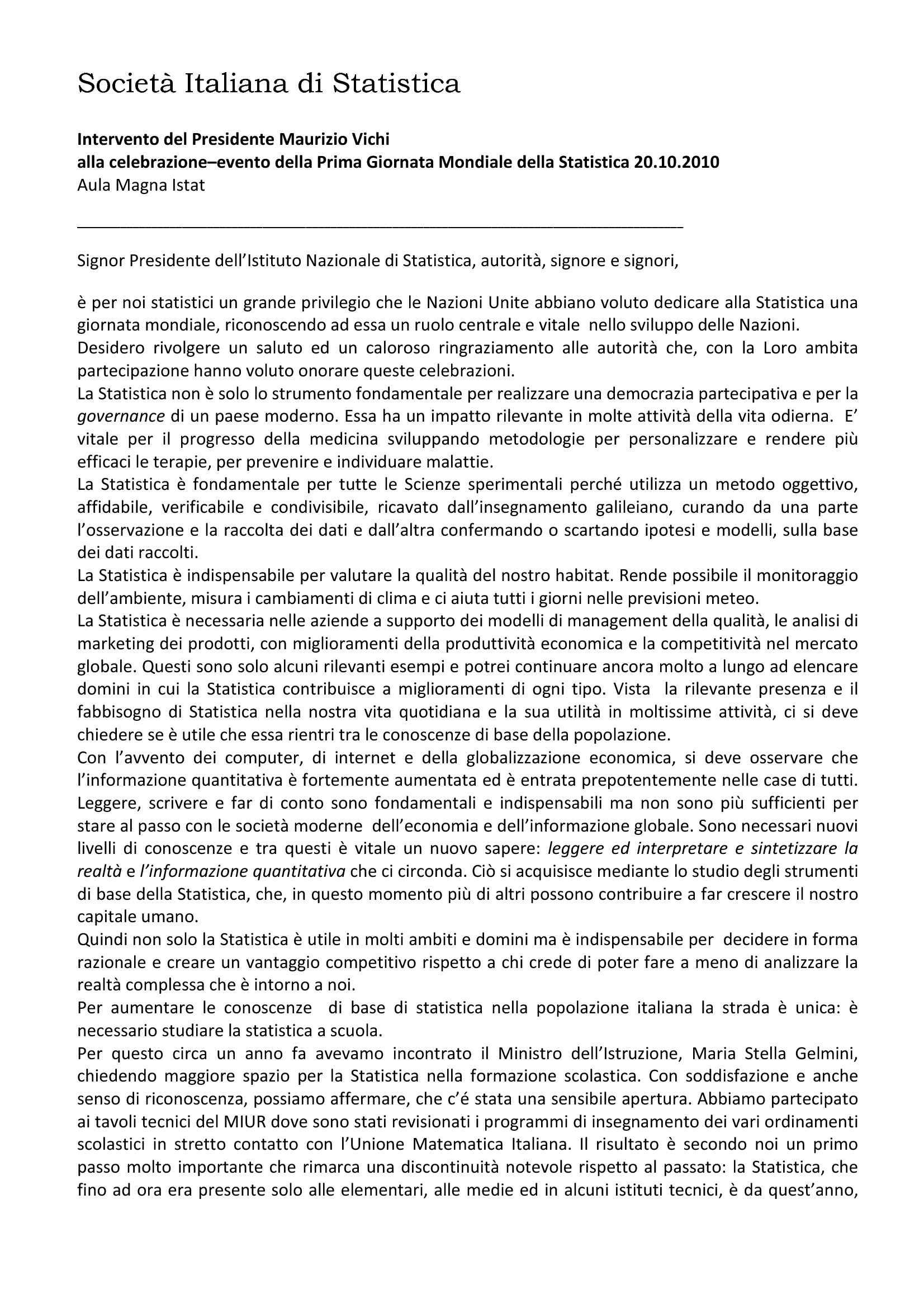 Intervento di Maurizio Vichi alla Giornata Mondiale della Statistica