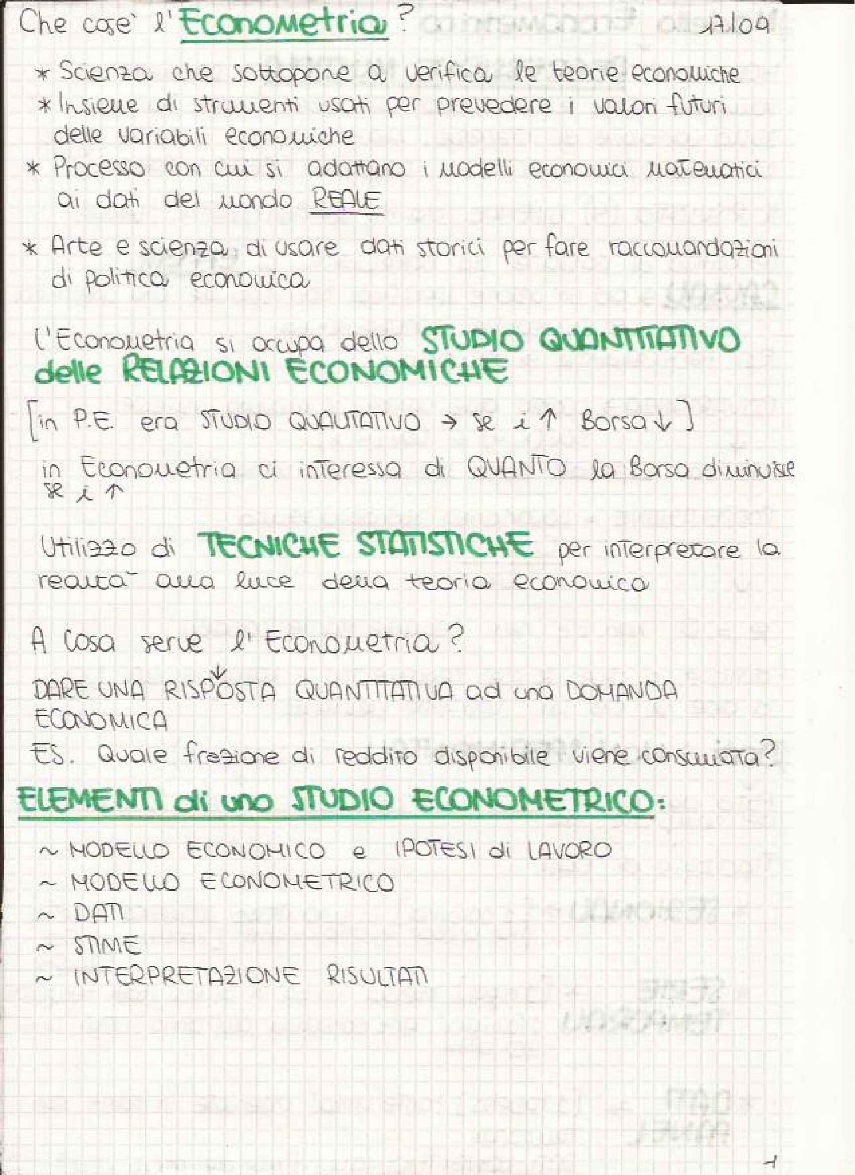Econometria - Appunti