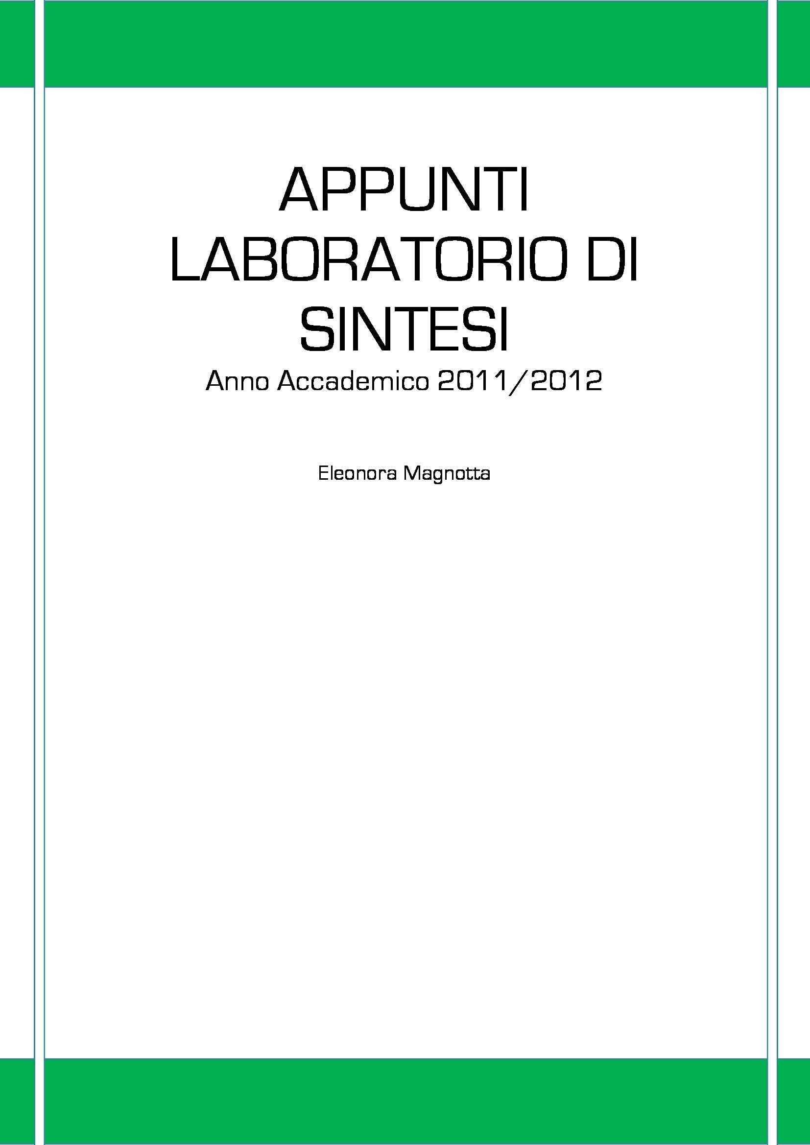 Laboratorio di sintesi - lezione 1