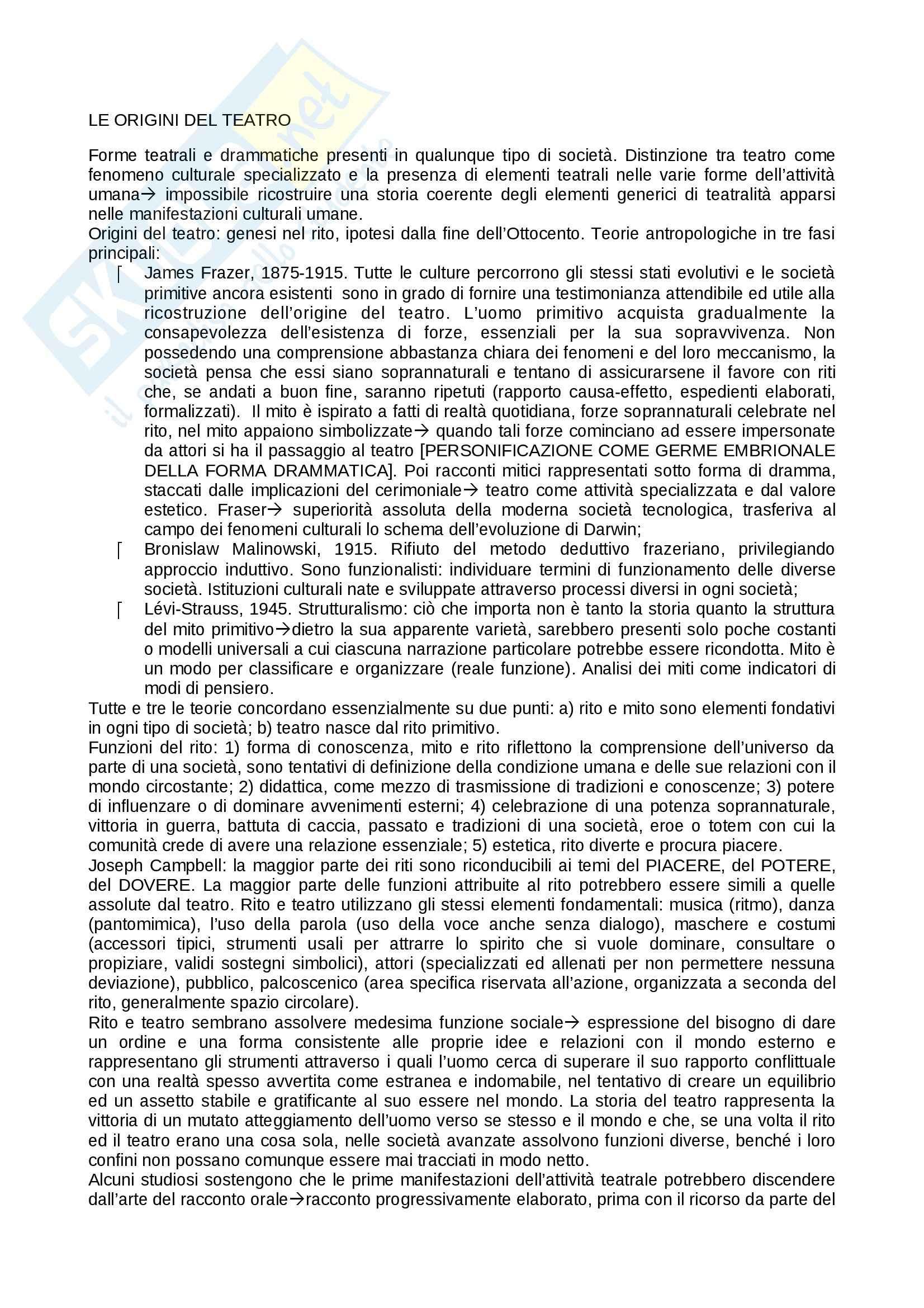Riassunto esame teatro, prof. Alberti, libro consigliato Storia del teatro, Brockett, Vicentini, De Lorenzis
