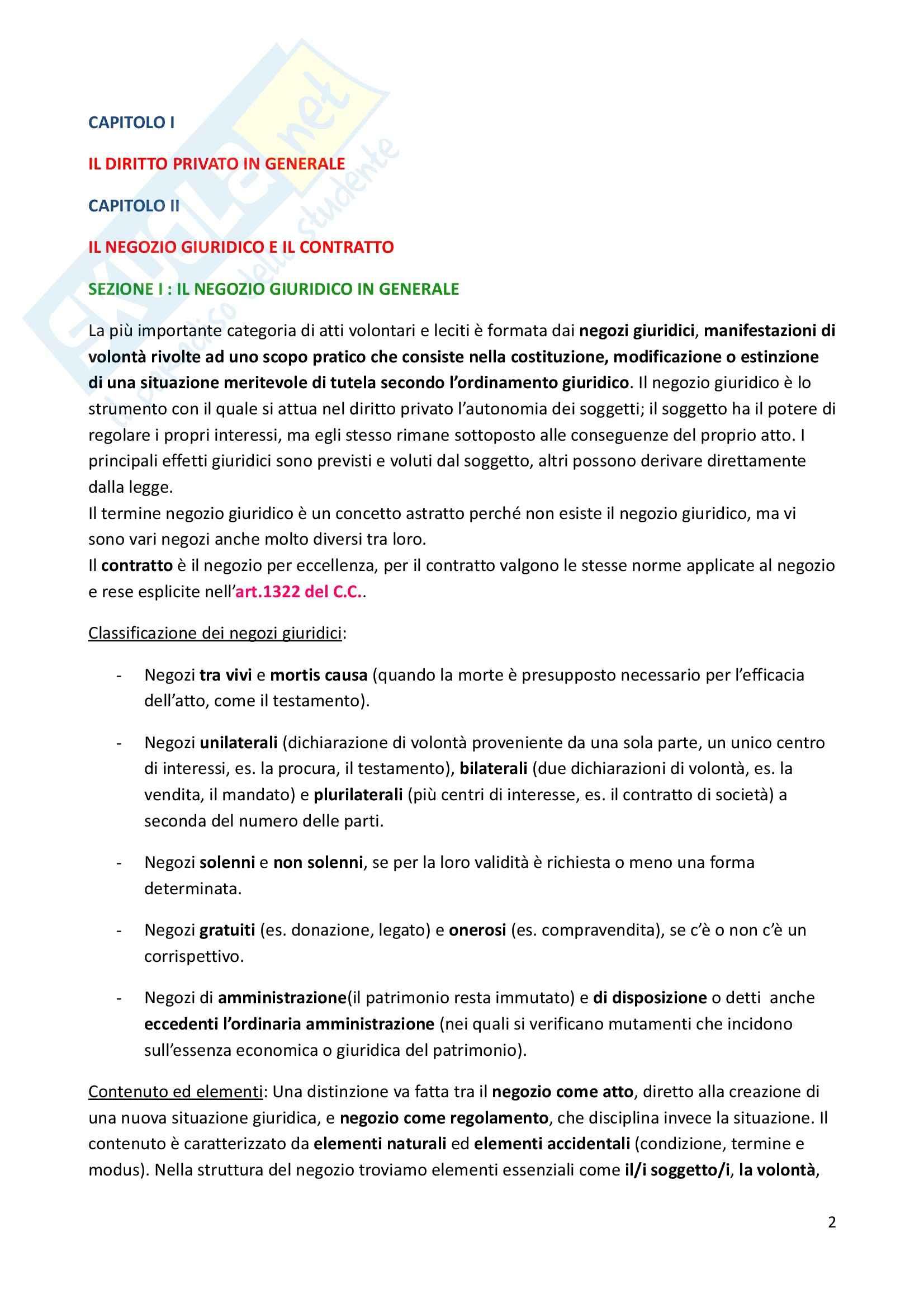 Riassunto esame Diritto Privato, prof. Caprioli, libro consigliato Istituzioni di Diritto Civile, Trabucchi