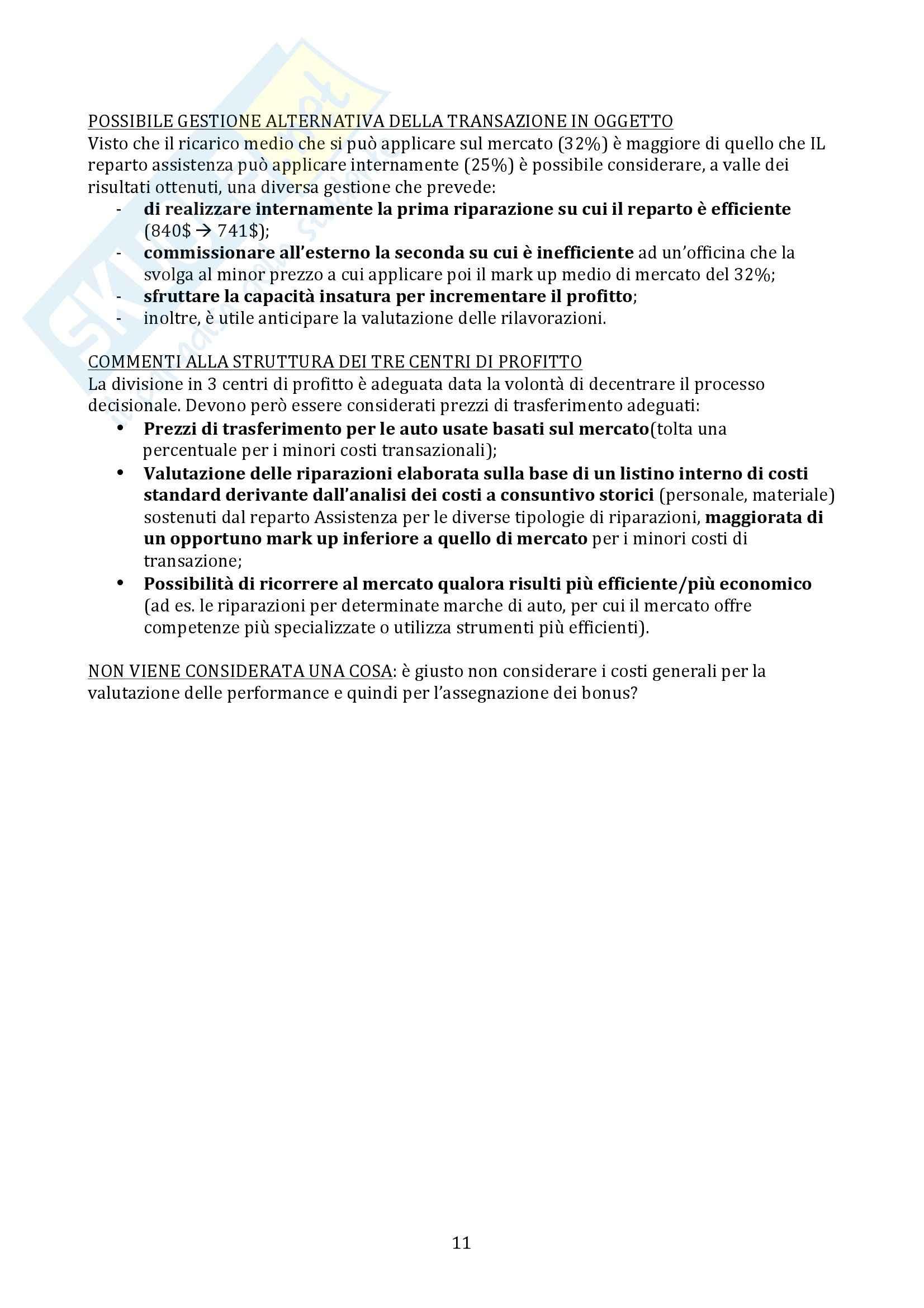 Sistemi di Controllo di Gestione - esercitazioni Pag. 11
