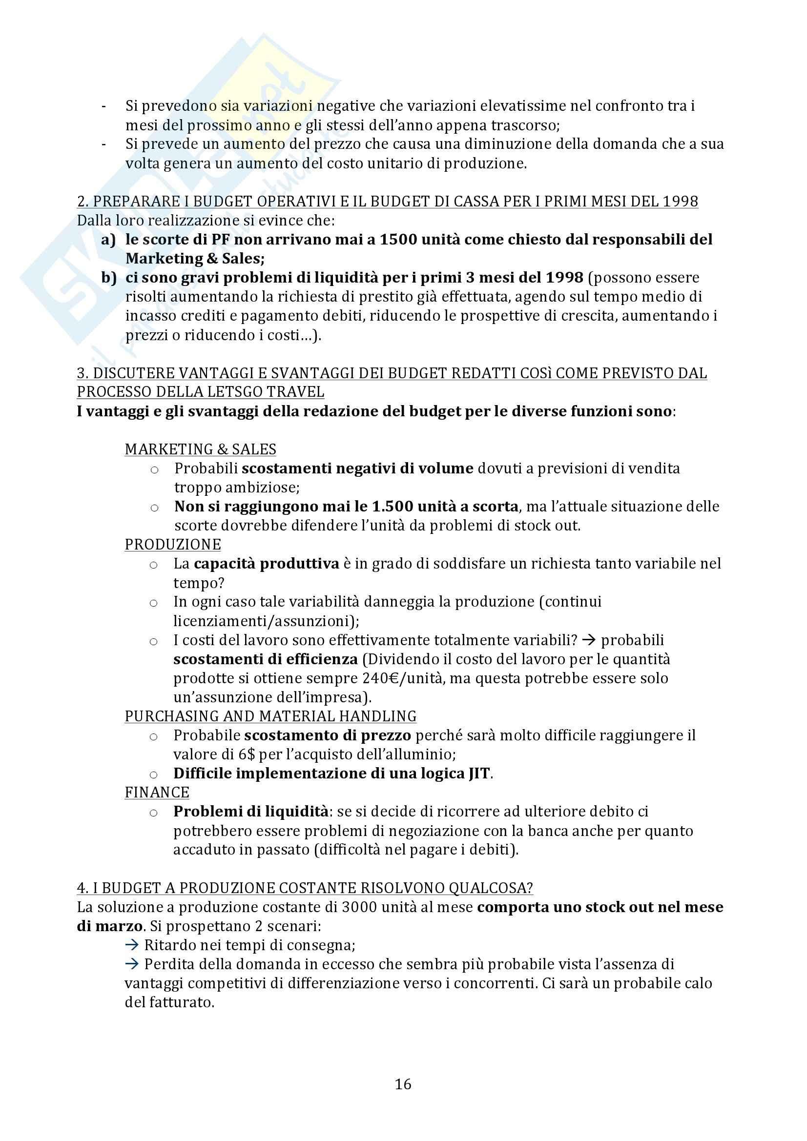 Sistemi di Controllo di Gestione - esercitazioni Pag. 16