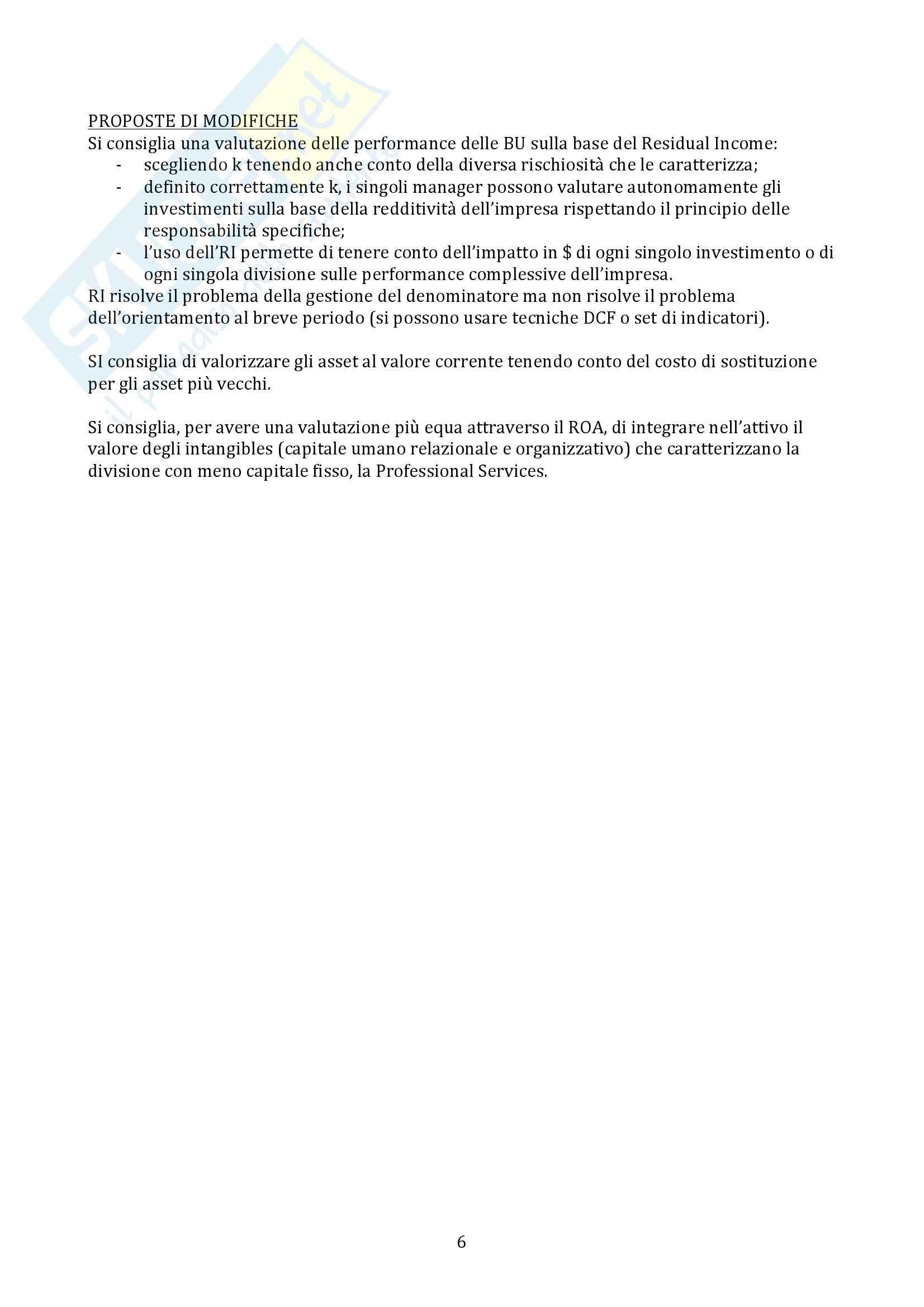 Sistemi di Controllo di Gestione - esercitazioni Pag. 6