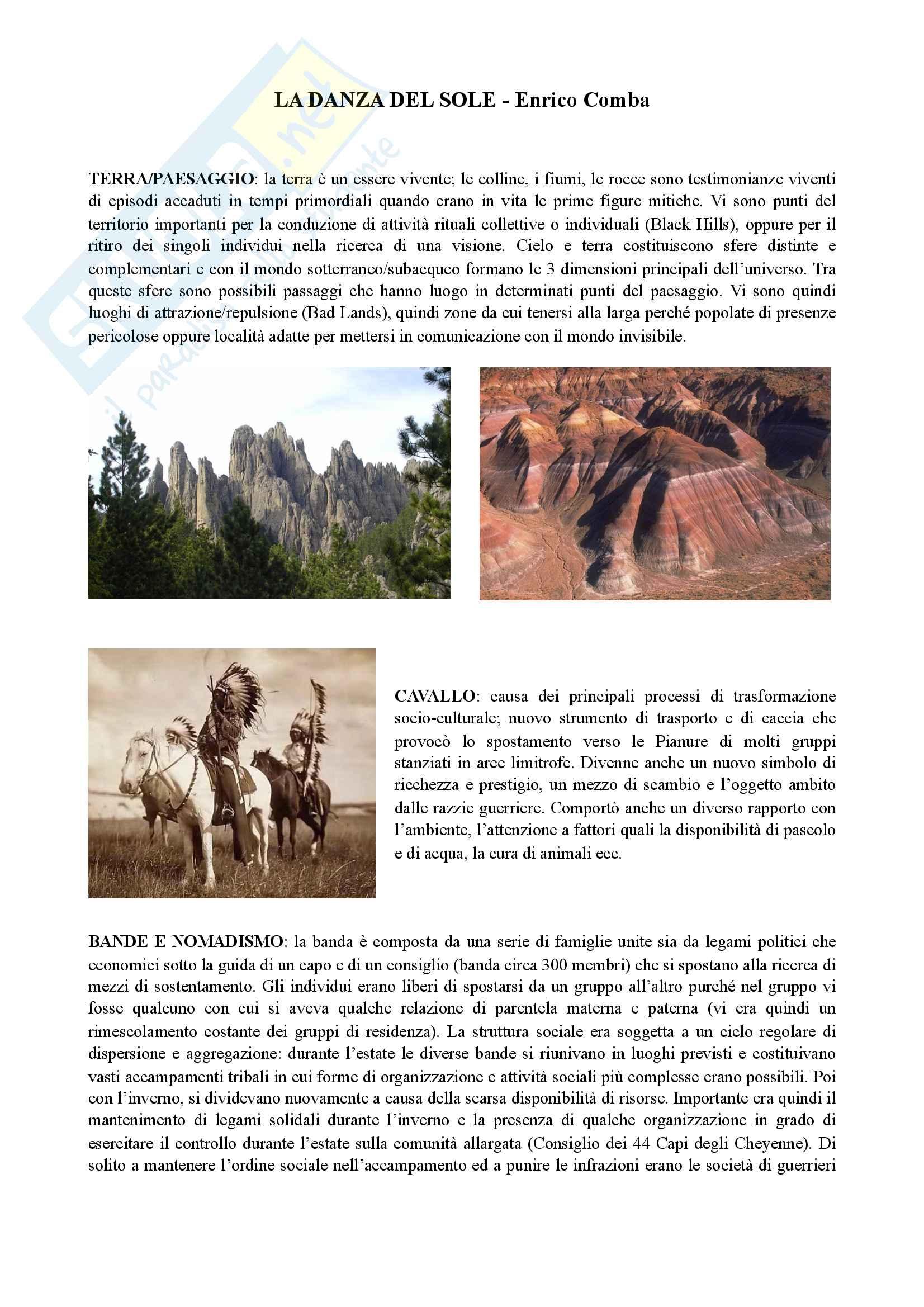 """Riassunto esame """"Antropologia delle religioni"""", prof. Comba, libro consigliato """"La Danza del Sole"""" di E. Comba"""
