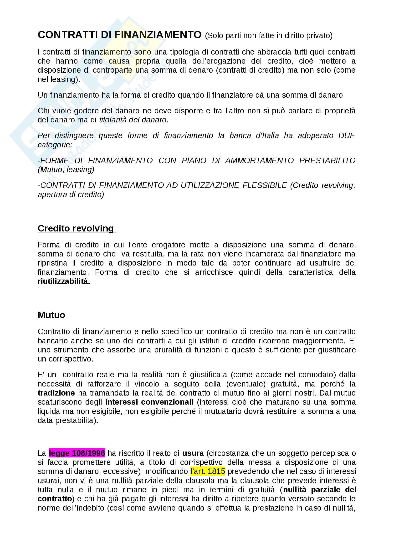 Appunti di Diritto Privato dell'Economia prof. Piranio