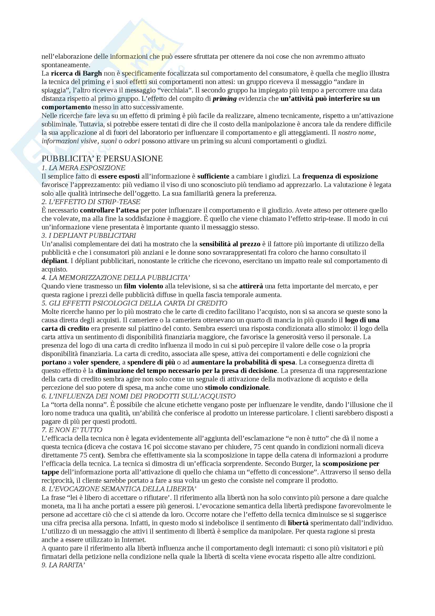 Riassunto esame Psicologia Sociale, docente Castelli, libro consigliato Psicologia del consumatore, Guéguen Pag. 2