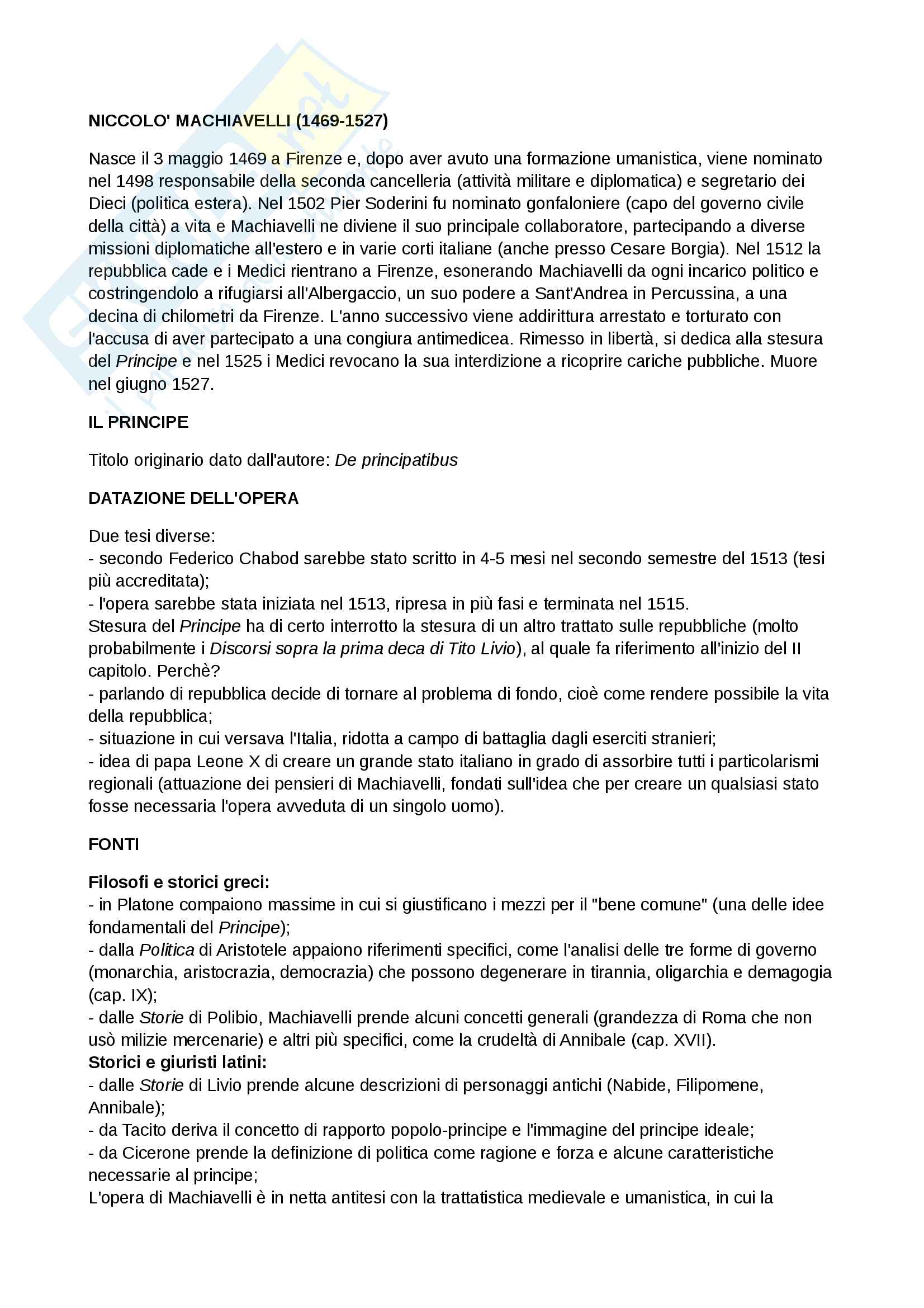 """Riassunto esame Letteratura italiana, prof. Corsaro, libro consigliato """"Il principe"""" di Niccolò Machiavelli"""