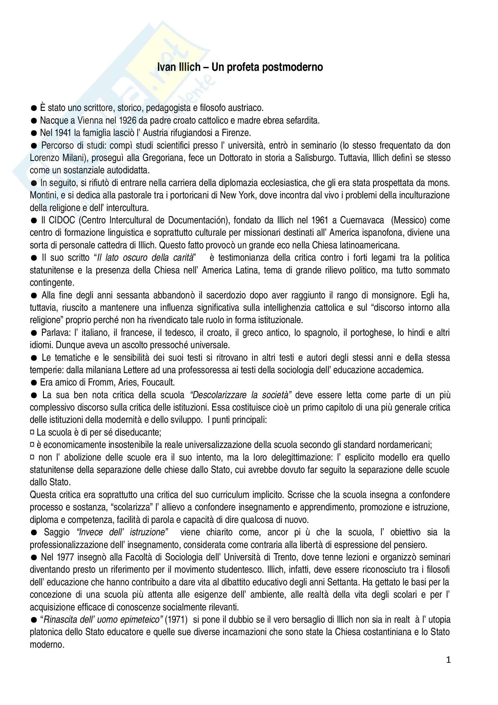 Riassunto esame Pedagogia, prof. Gaudio, libro consigliato Un profeta postmoderno, Illich