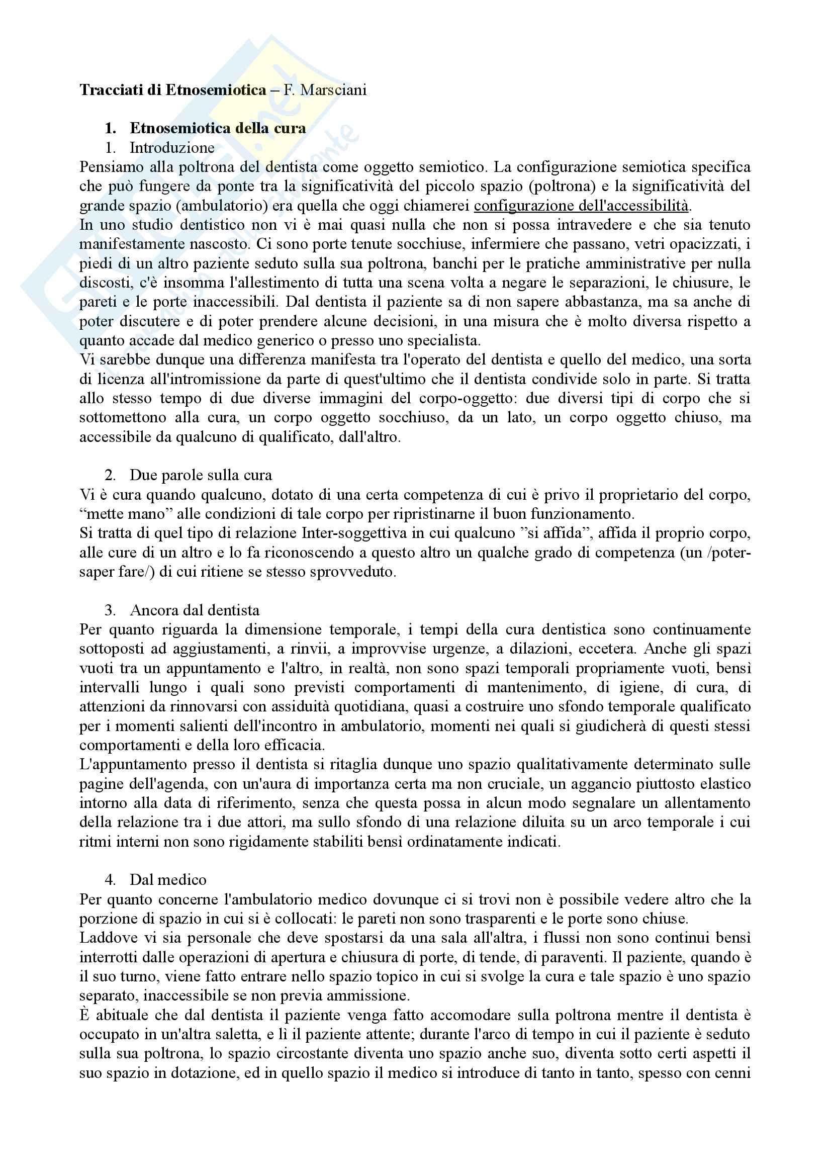 Riassunto semiotica della cultura, prof. Leone, libro consigliato Tracciati di etnosemiotica, Marsciani