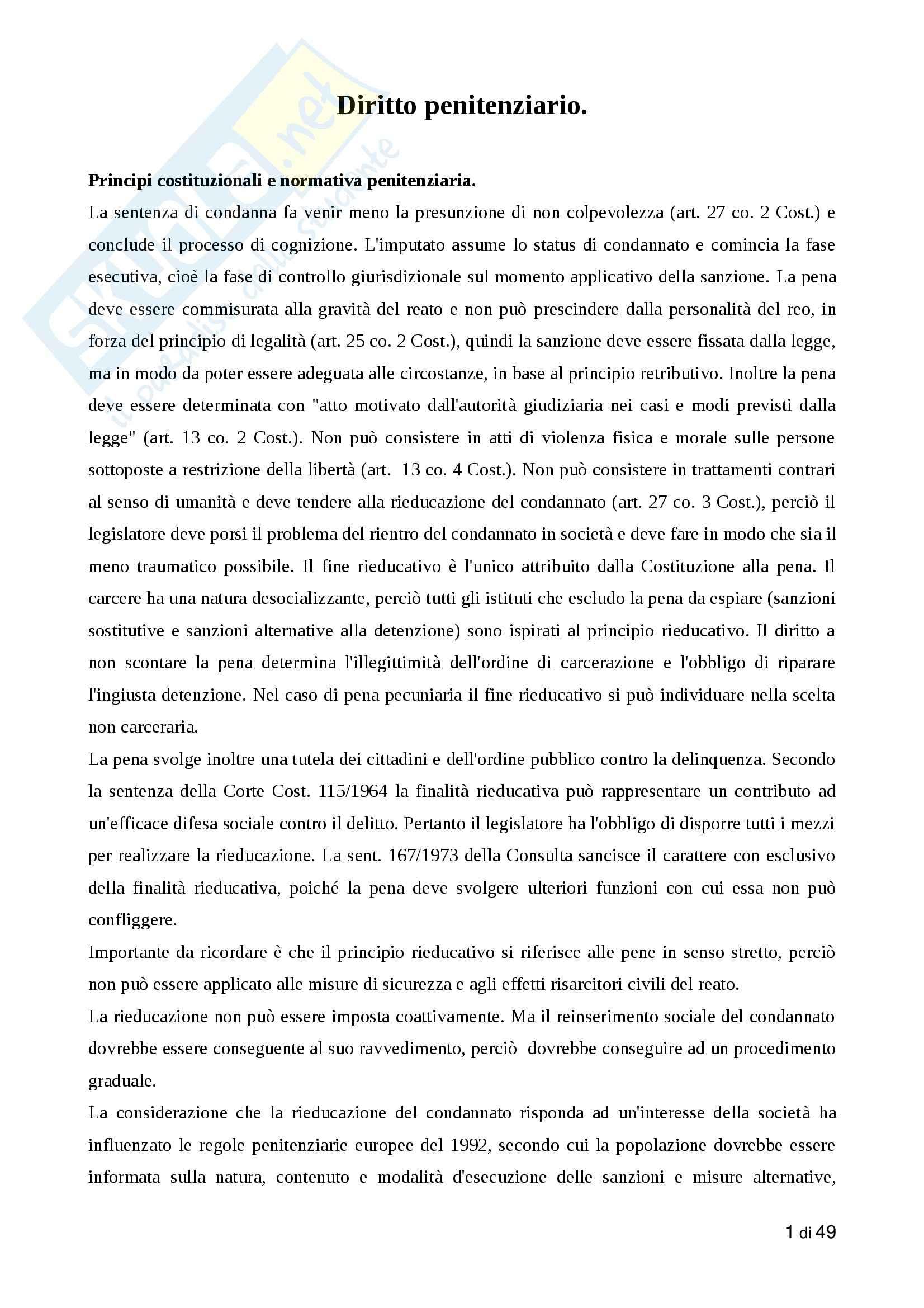 Riassunto esame Diritto penitenziario, prof. Buzzelli, libro consigliato Manuale dell'esecuzione penitenziaria, Monduzzi
