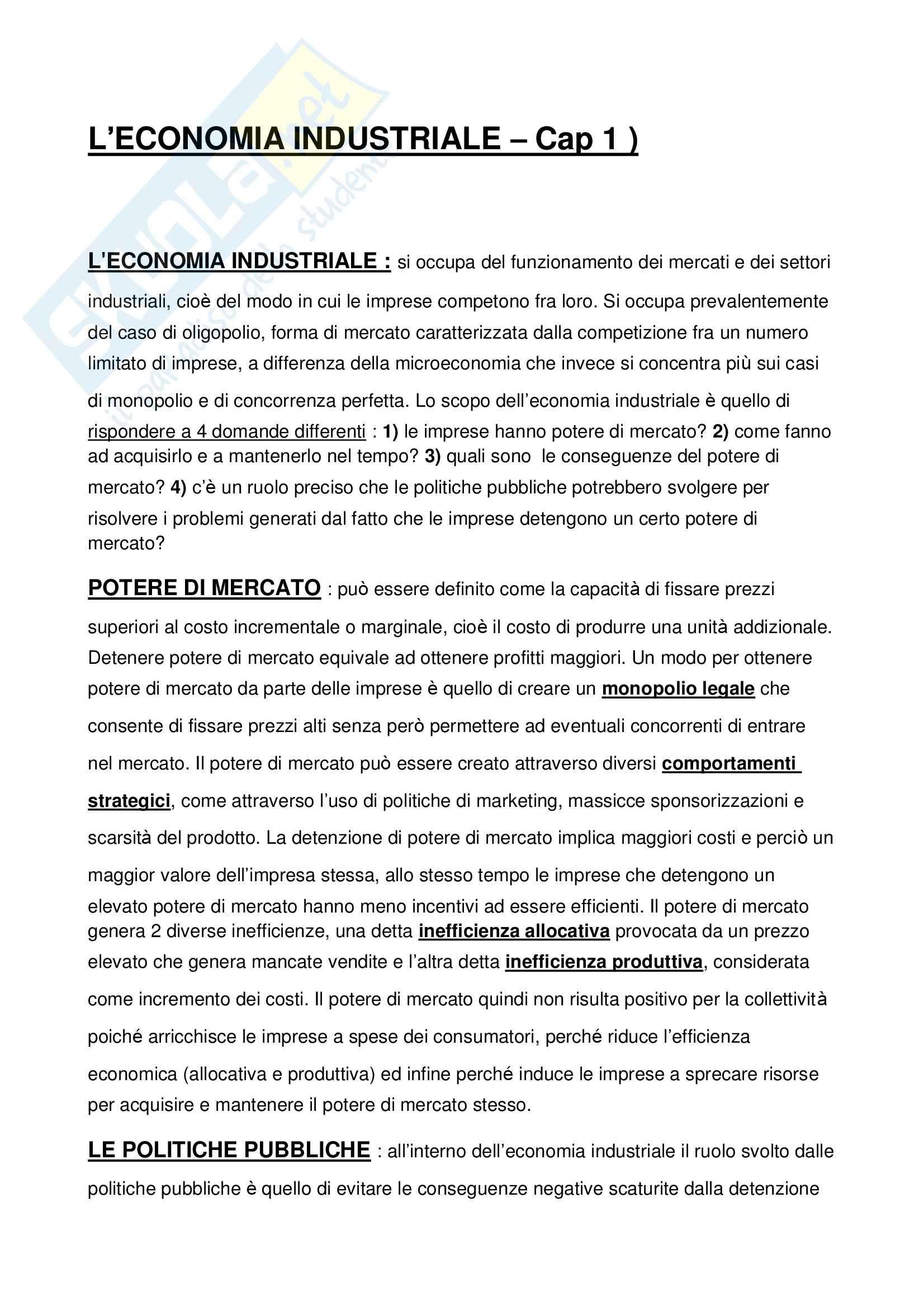 Riassunto esame Economia e organizzazione industriale, prof. Oliviero, libro consigliato Economia industriale, Cabral