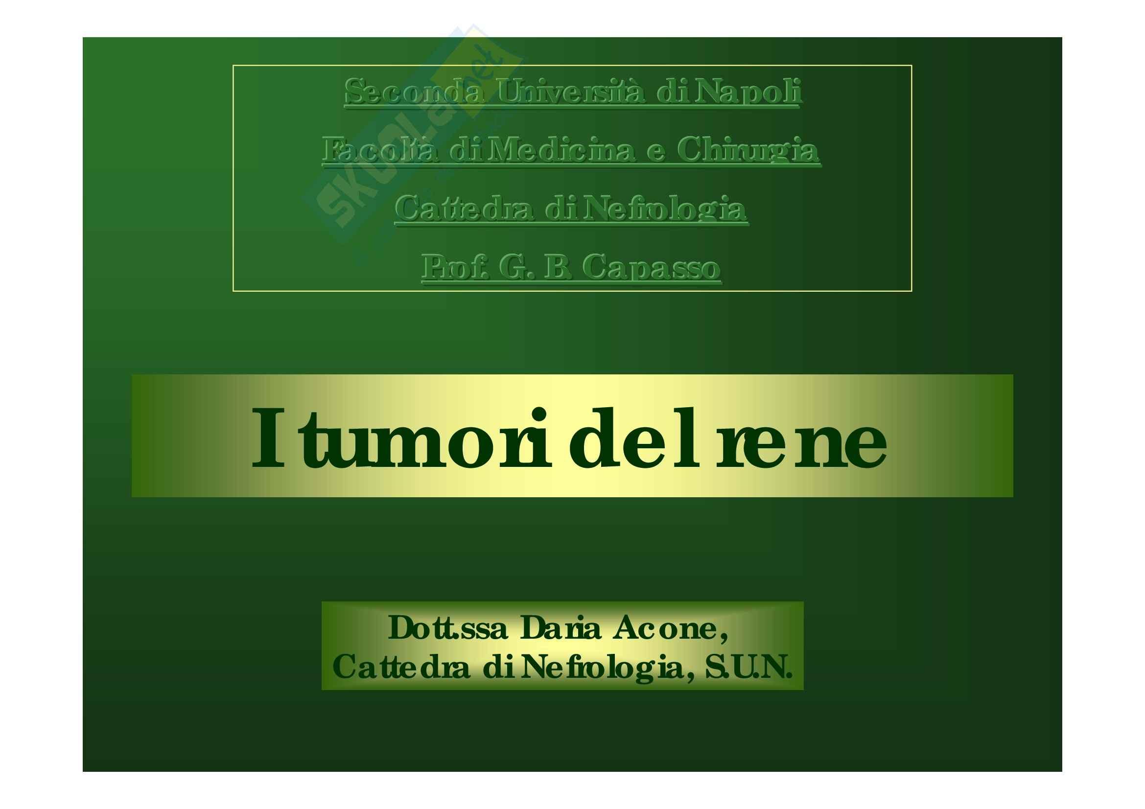 Malattie del rene e delle vie urinarie - tumori del rene