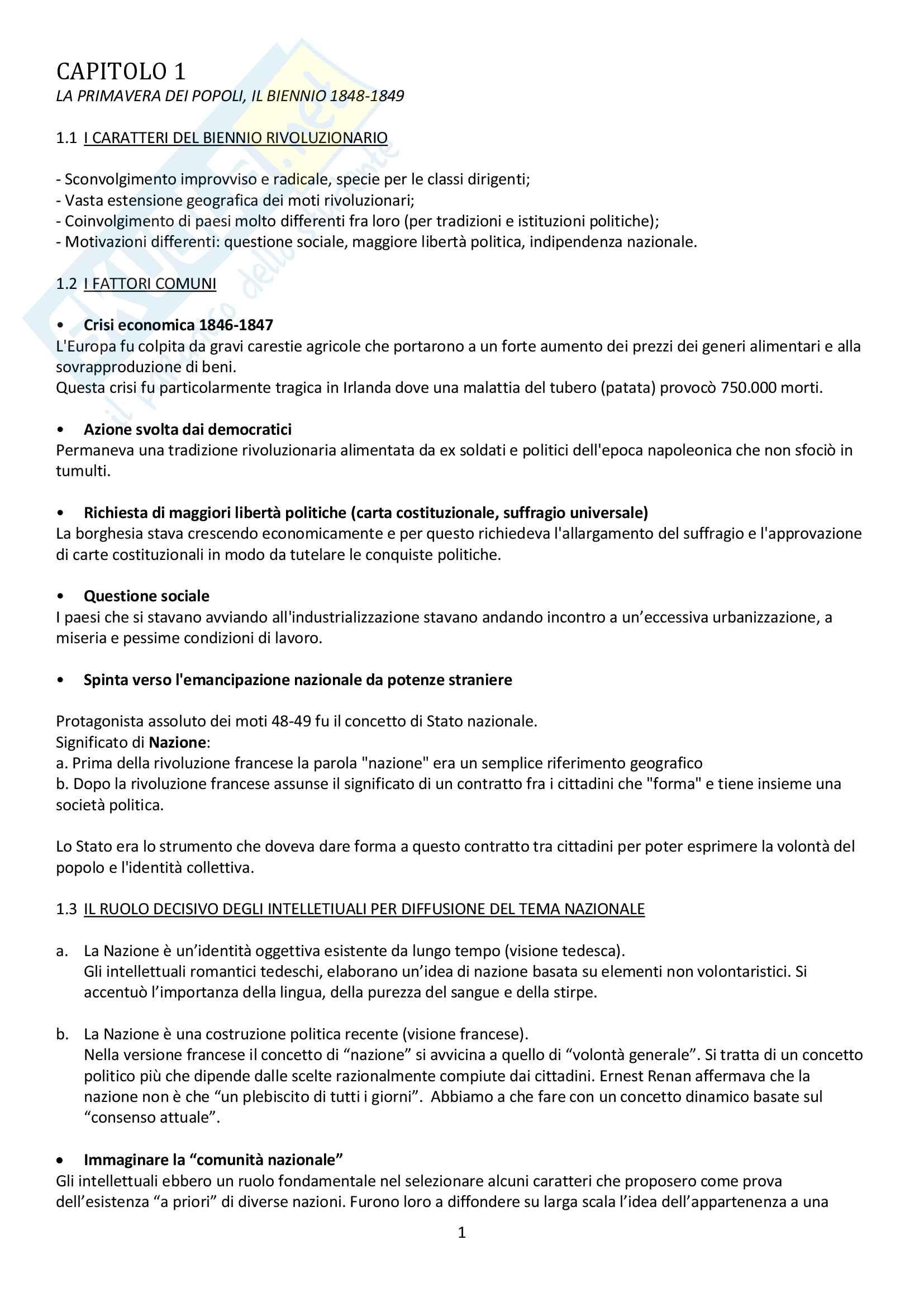 """Riassunto esame storia contemporanea, prof. Baravelli. Libro consigliato """"Venti lezioni di storia contemporanea dal 1848 ad oggi"""", Andrea Baravelli, Ilaria Cerioli"""