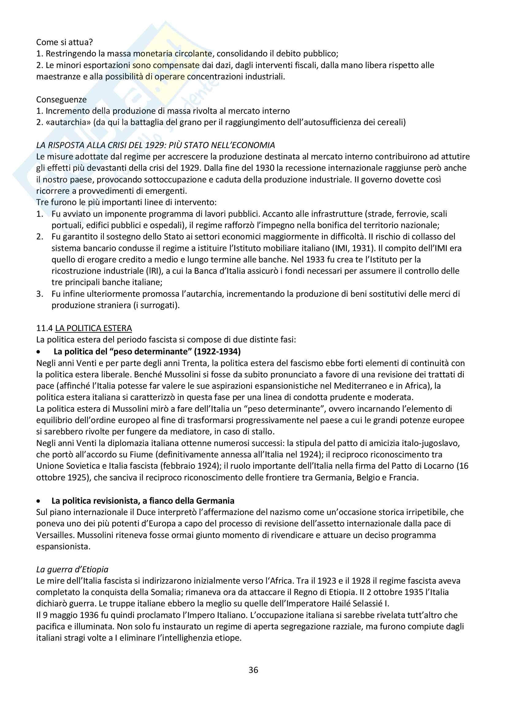 """Riassunto esame storia contemporanea, prof. Baravelli. Libro consigliato """"Venti lezioni di storia contemporanea dal 1848 ad oggi"""", Andrea Baravelli, Ilaria Cerioli Pag. 36"""