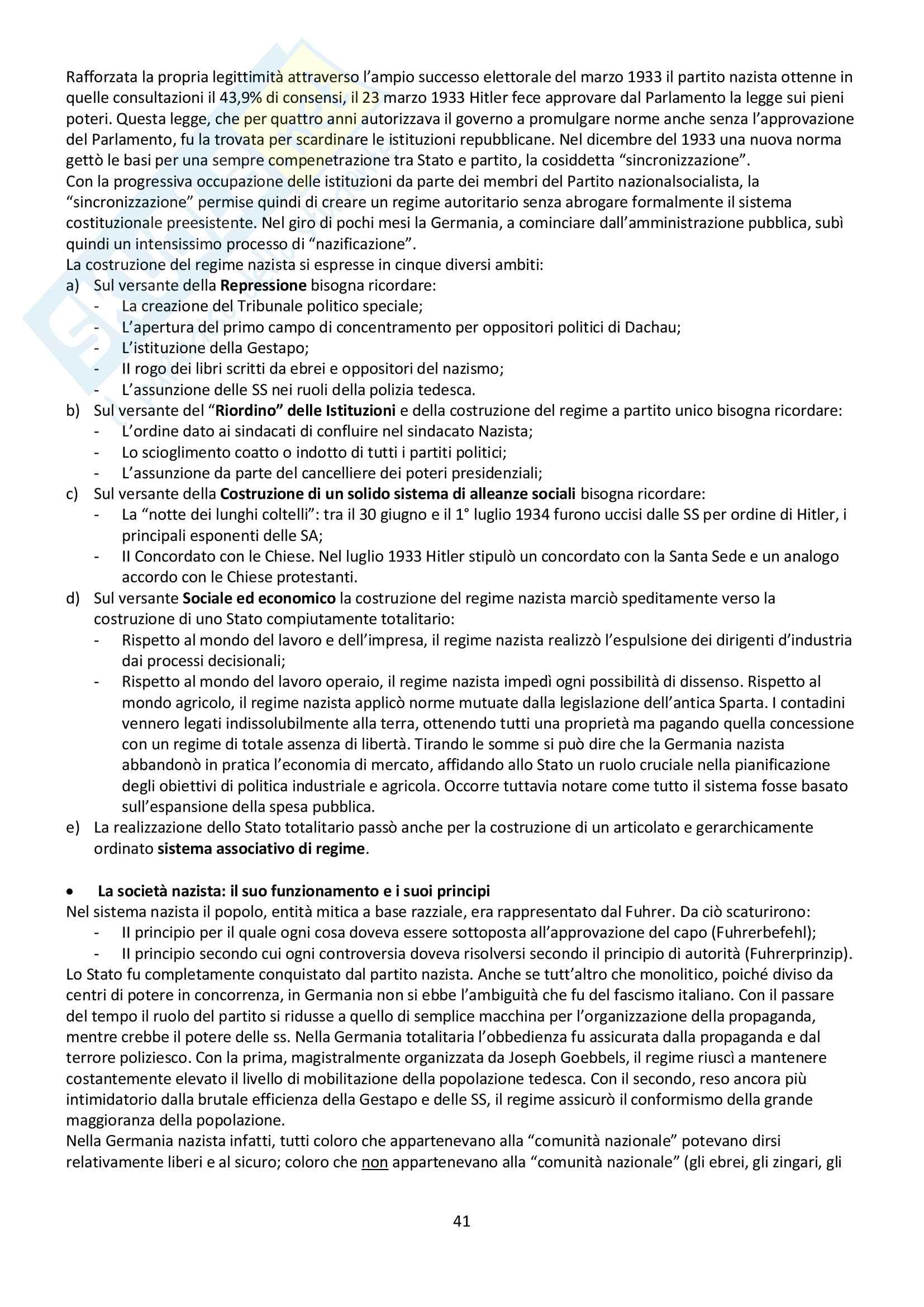 """Riassunto esame storia contemporanea, prof. Baravelli. Libro consigliato """"Venti lezioni di storia contemporanea dal 1848 ad oggi"""", Andrea Baravelli, Ilaria Cerioli Pag. 41"""