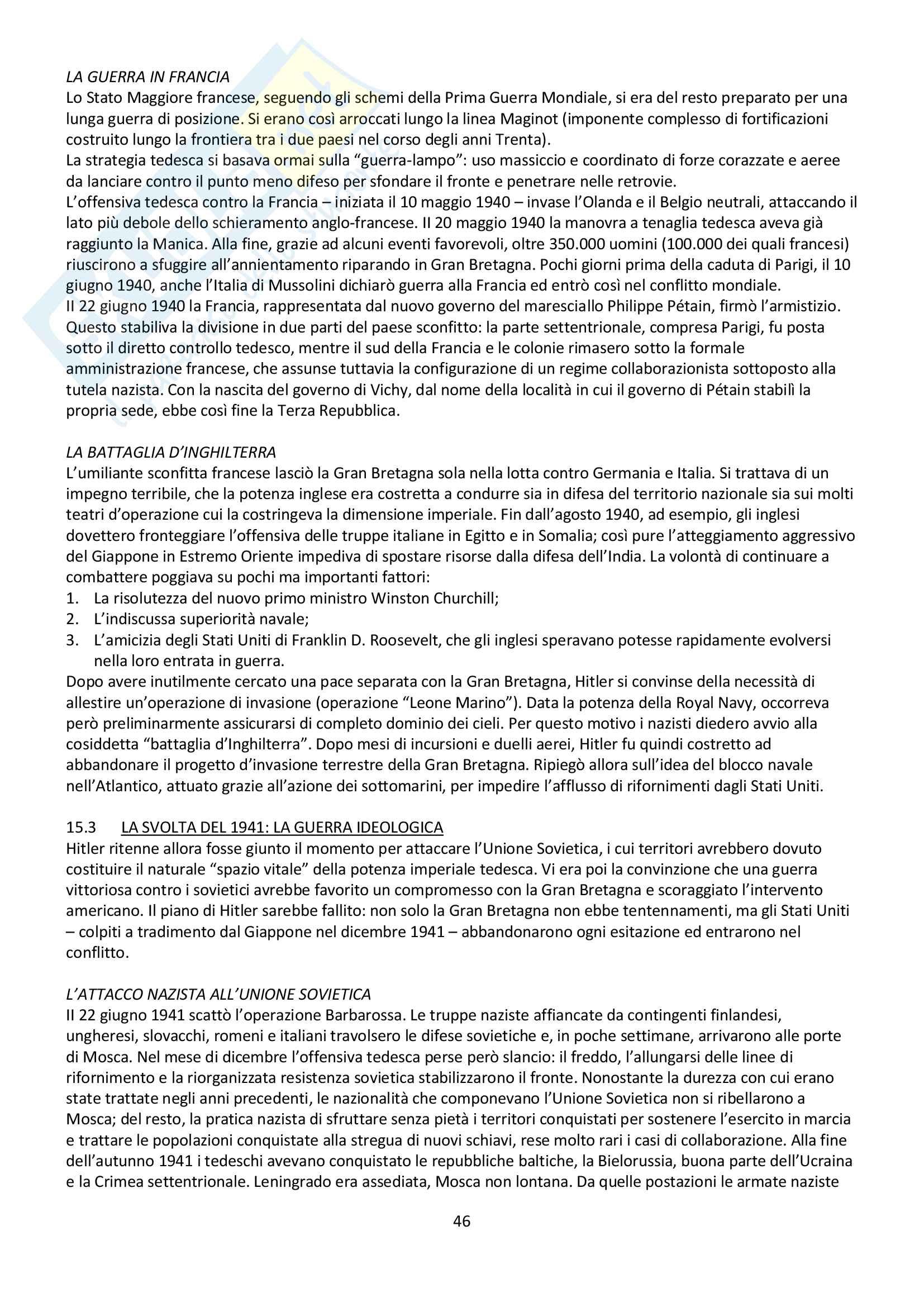 """Riassunto esame storia contemporanea, prof. Baravelli. Libro consigliato """"Venti lezioni di storia contemporanea dal 1848 ad oggi"""", Andrea Baravelli, Ilaria Cerioli Pag. 46"""
