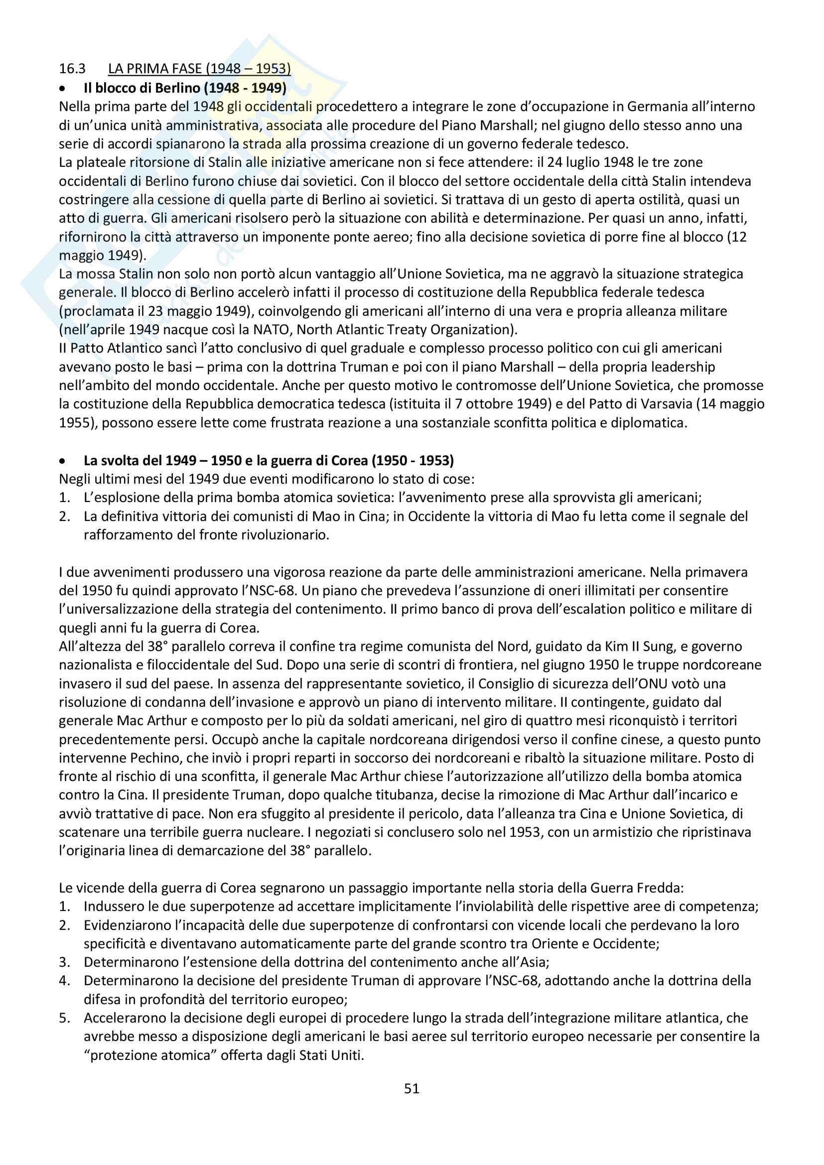 """Riassunto esame storia contemporanea, prof. Baravelli. Libro consigliato """"Venti lezioni di storia contemporanea dal 1848 ad oggi"""", Andrea Baravelli, Ilaria Cerioli Pag. 51"""