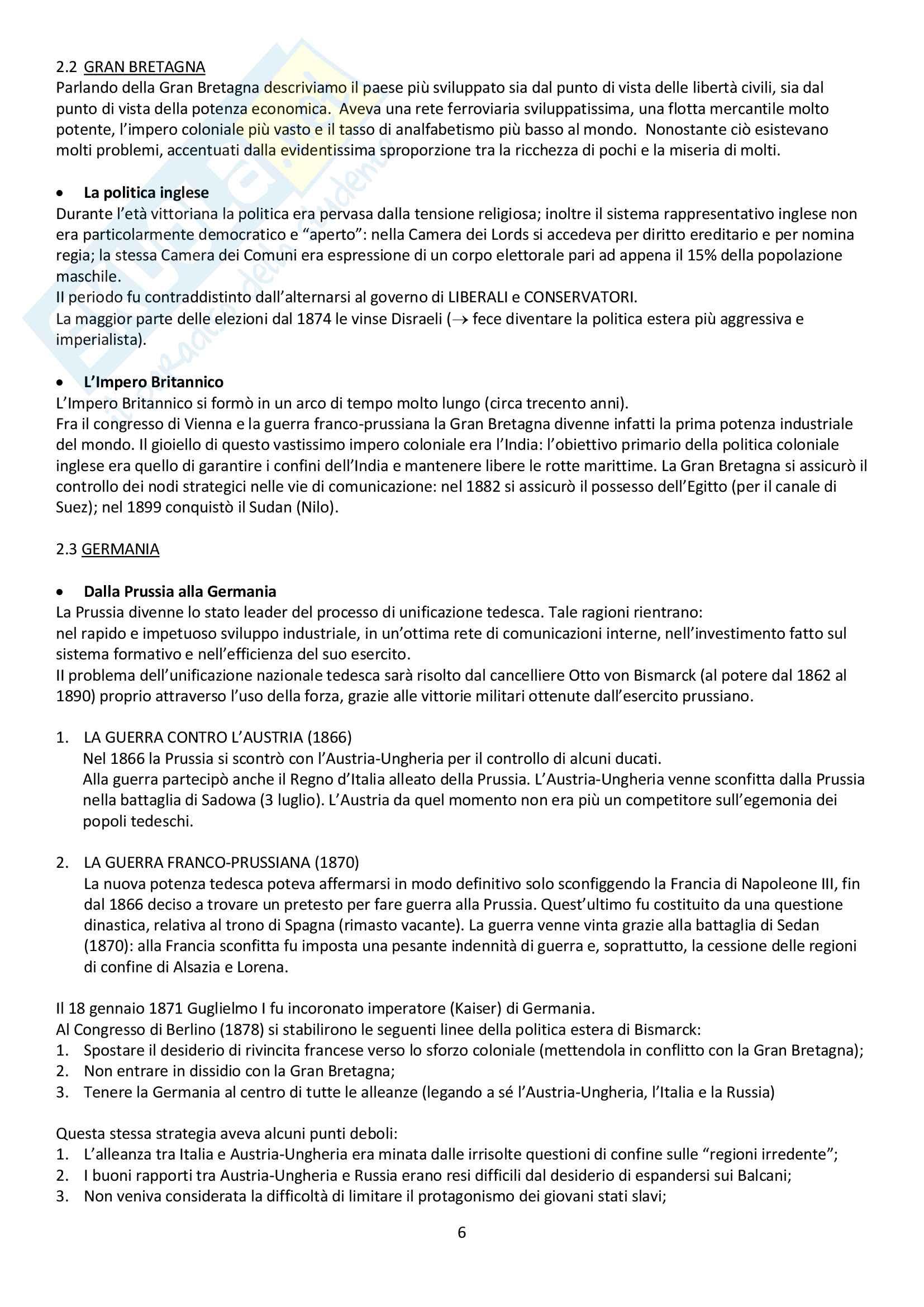 """Riassunto esame storia contemporanea, prof. Baravelli. Libro consigliato """"Venti lezioni di storia contemporanea dal 1848 ad oggi"""", Andrea Baravelli, Ilaria Cerioli Pag. 6"""