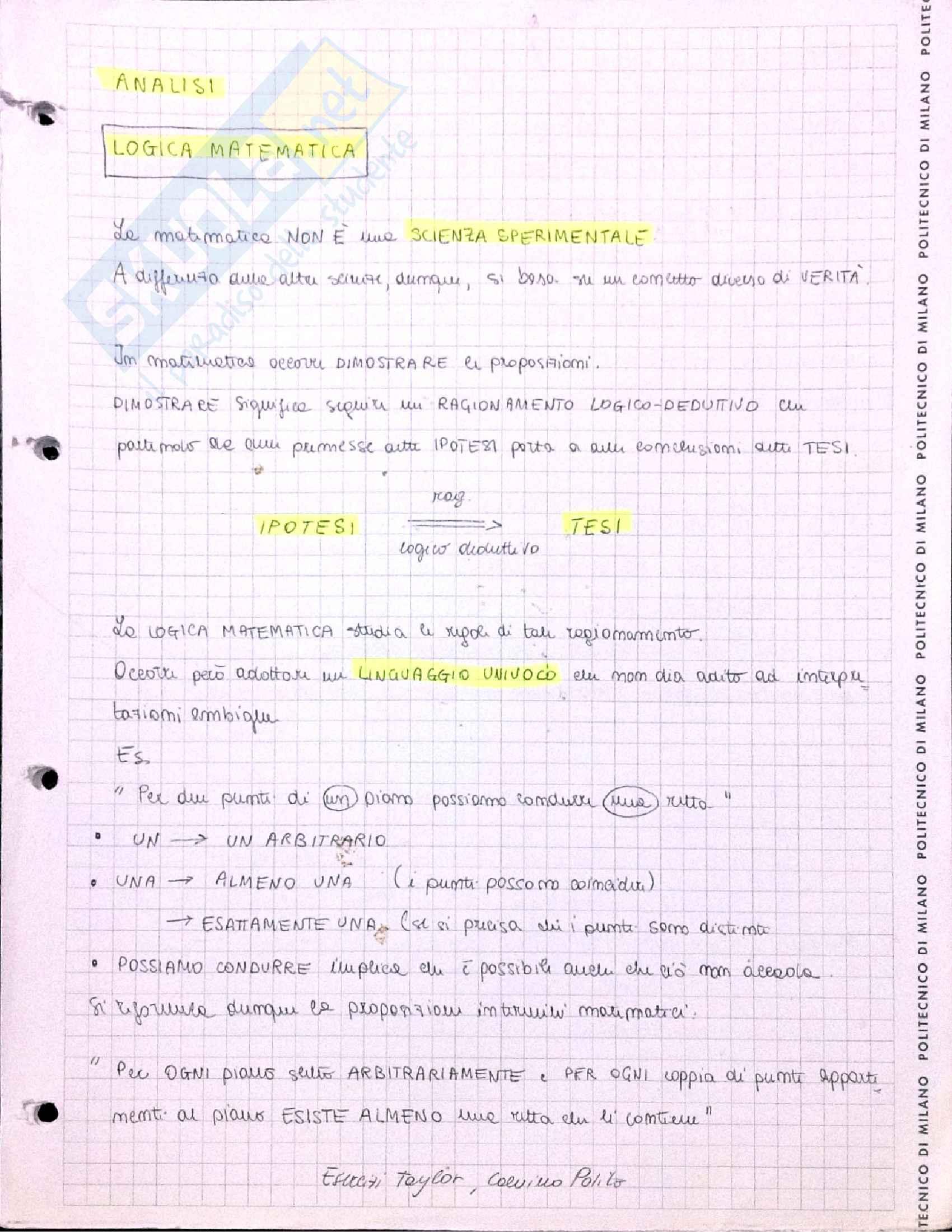 appunto M. Cerutti Analisi I