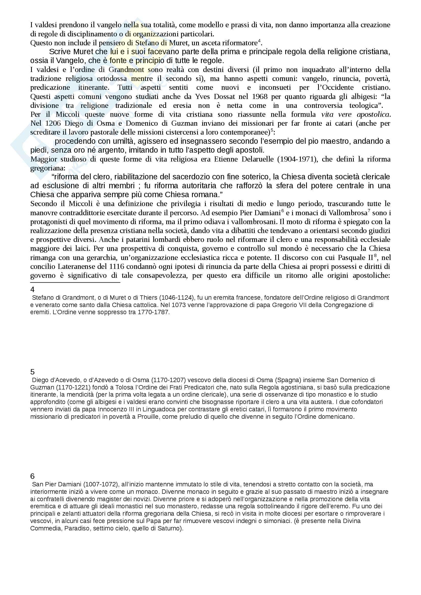Riassunto esame Storia Medievale, prof. Michetti, libro consigliato Francesco il santo di Assisi all'origine dei movimenti francescani, Miccoli Pag. 2