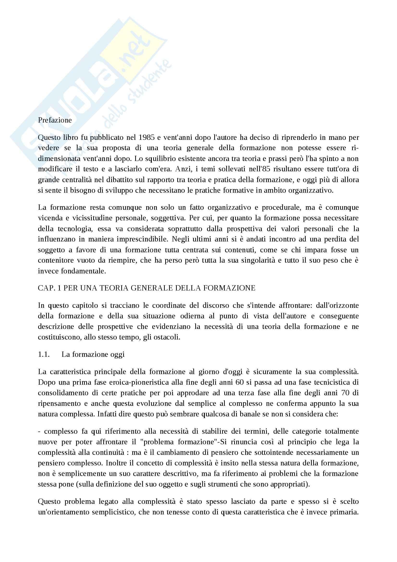 Riassunto esame Consulenza socio pedagogica, prof. Mancino, libro consigliato Fare formazione, Quaglino