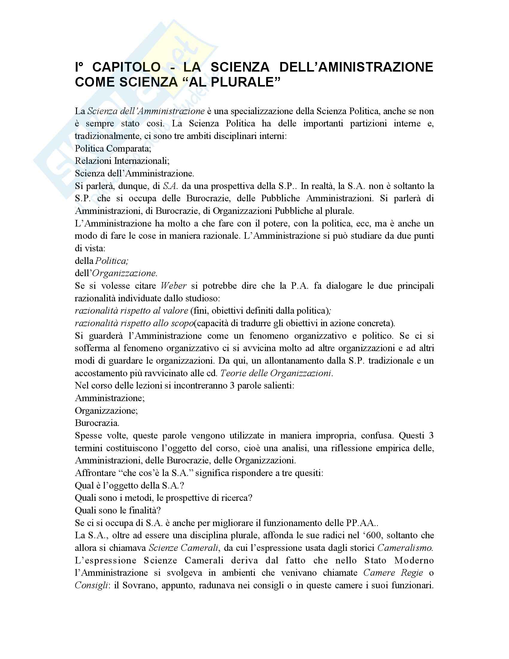 Riassunto esame Scienza dell'Amministrazione, prof. Petroni, libro consigliato Lezioni di Scienza dell'Amministrazione, Cavaglieri