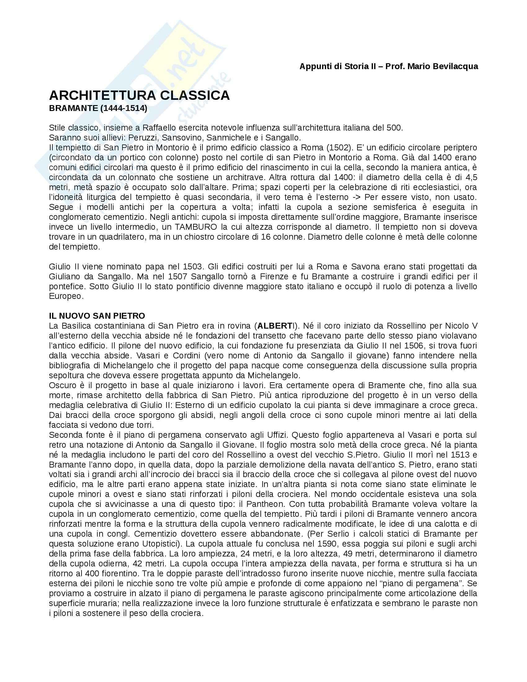 Lezioni: Appunti di Storia architettura II