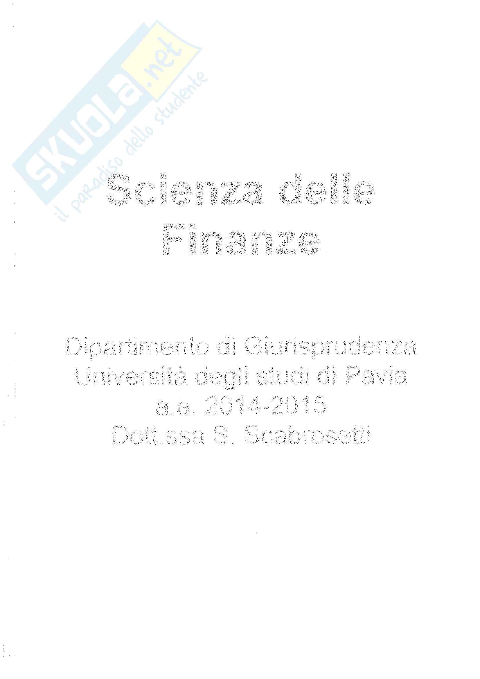 Riassunto esame di scienza delle finanze