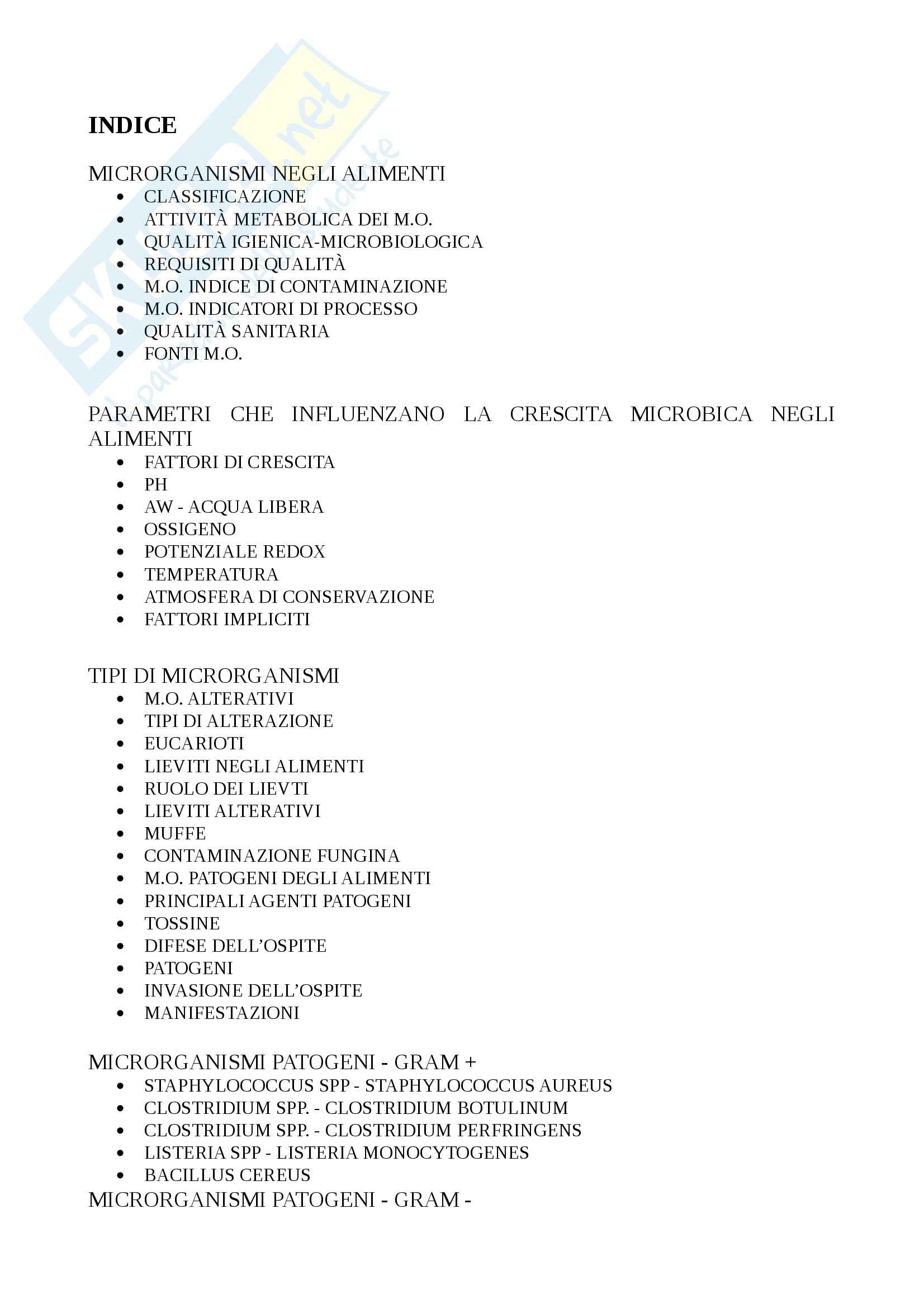 Contaminanti microbici - Appunti