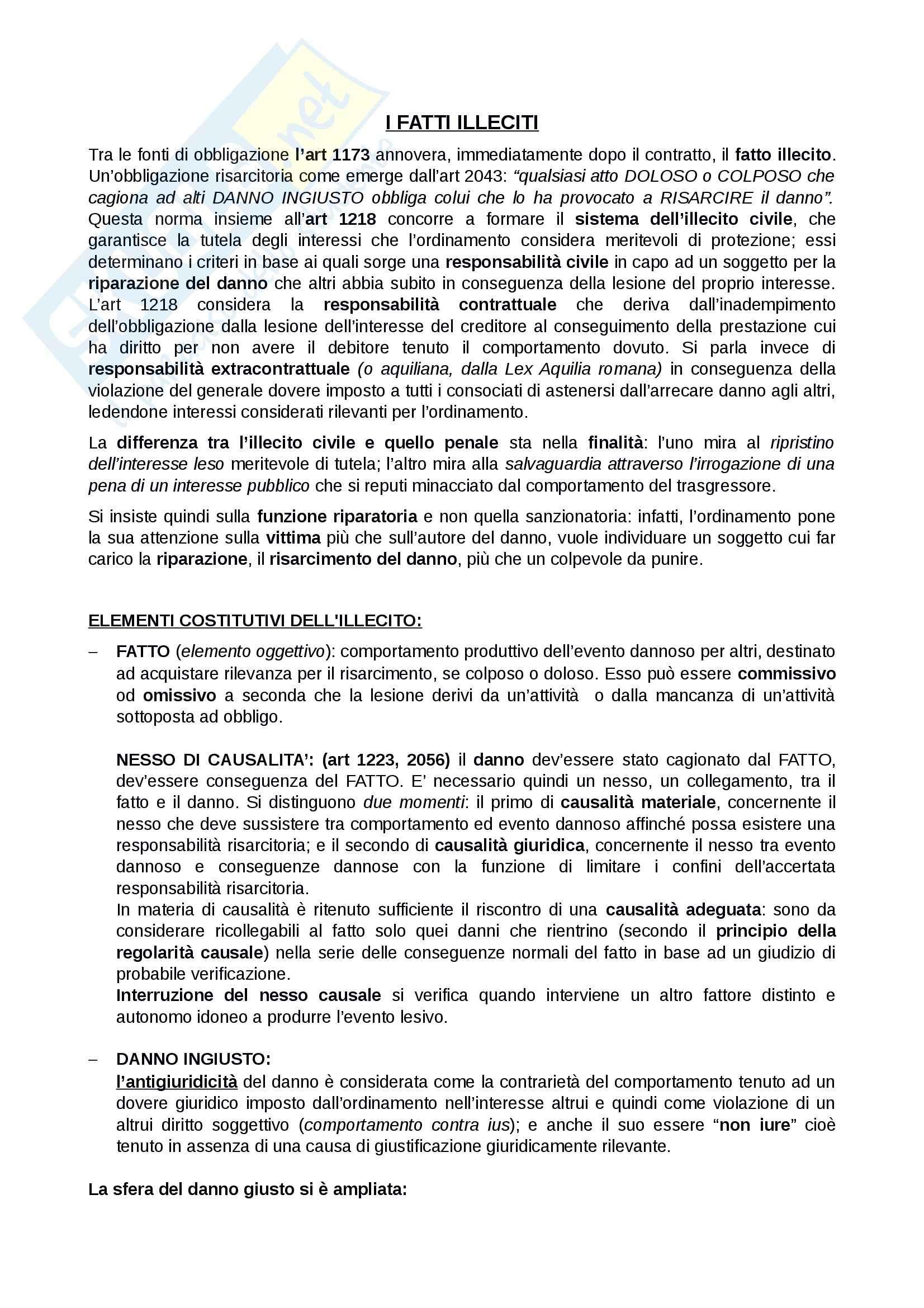 Riassunto esame Diritto privato, prof. Rossi, libro consigliato Fatto illecito, Bocchini-Quadri, Trabucchi