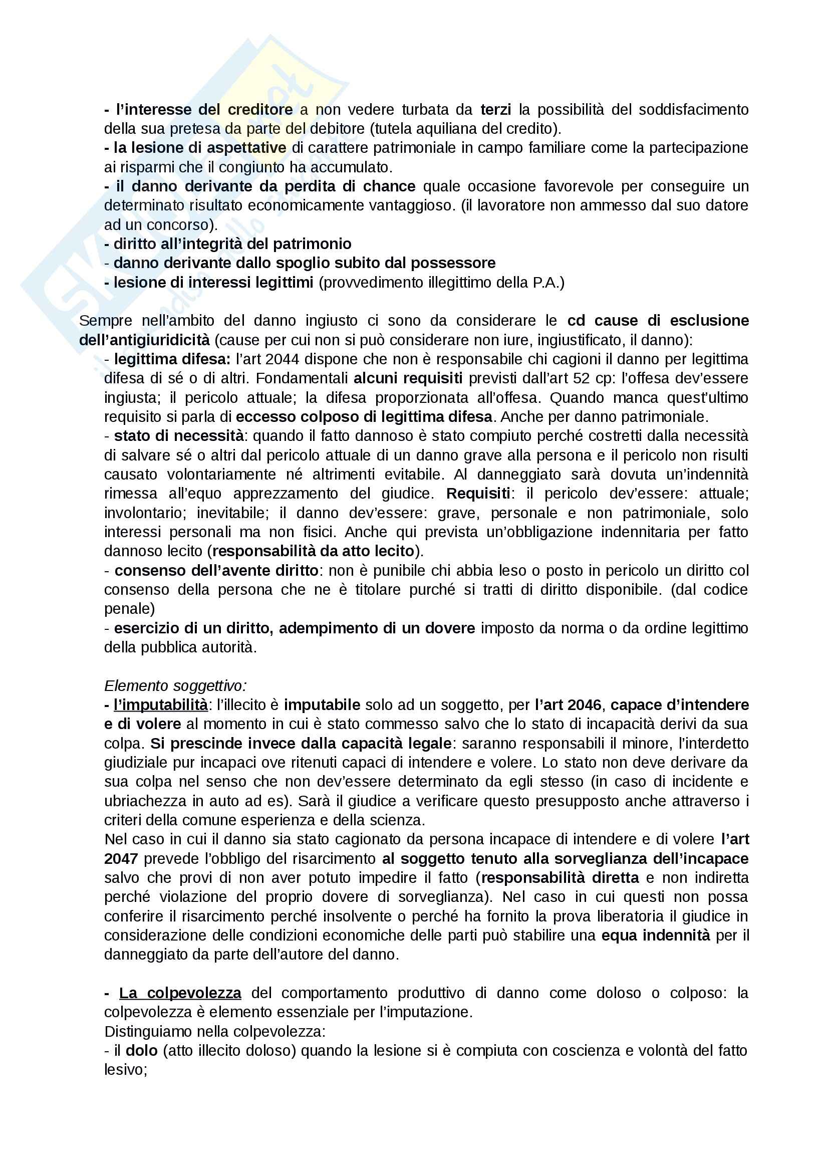 Riassunto esame Diritto privato, prof. Rossi, libro consigliato Fatto illecito, Bocchini-Quadri, Trabucchi Pag. 2